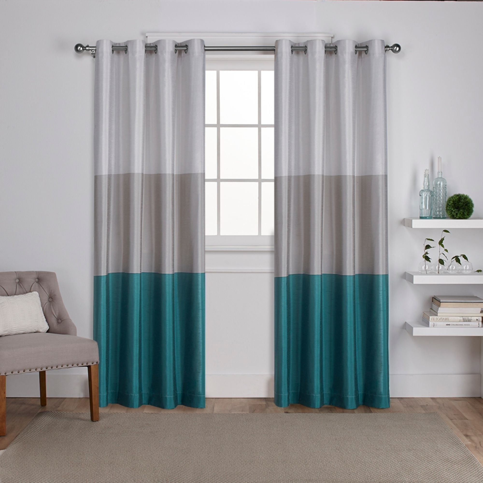 Most Popular Porch & Den Ocean Striped Window Curtain Panel Pair With Grommet Top In Ocean Striped Window Curtain Panel Pairs With Grommet Top (Gallery 3 of 20)