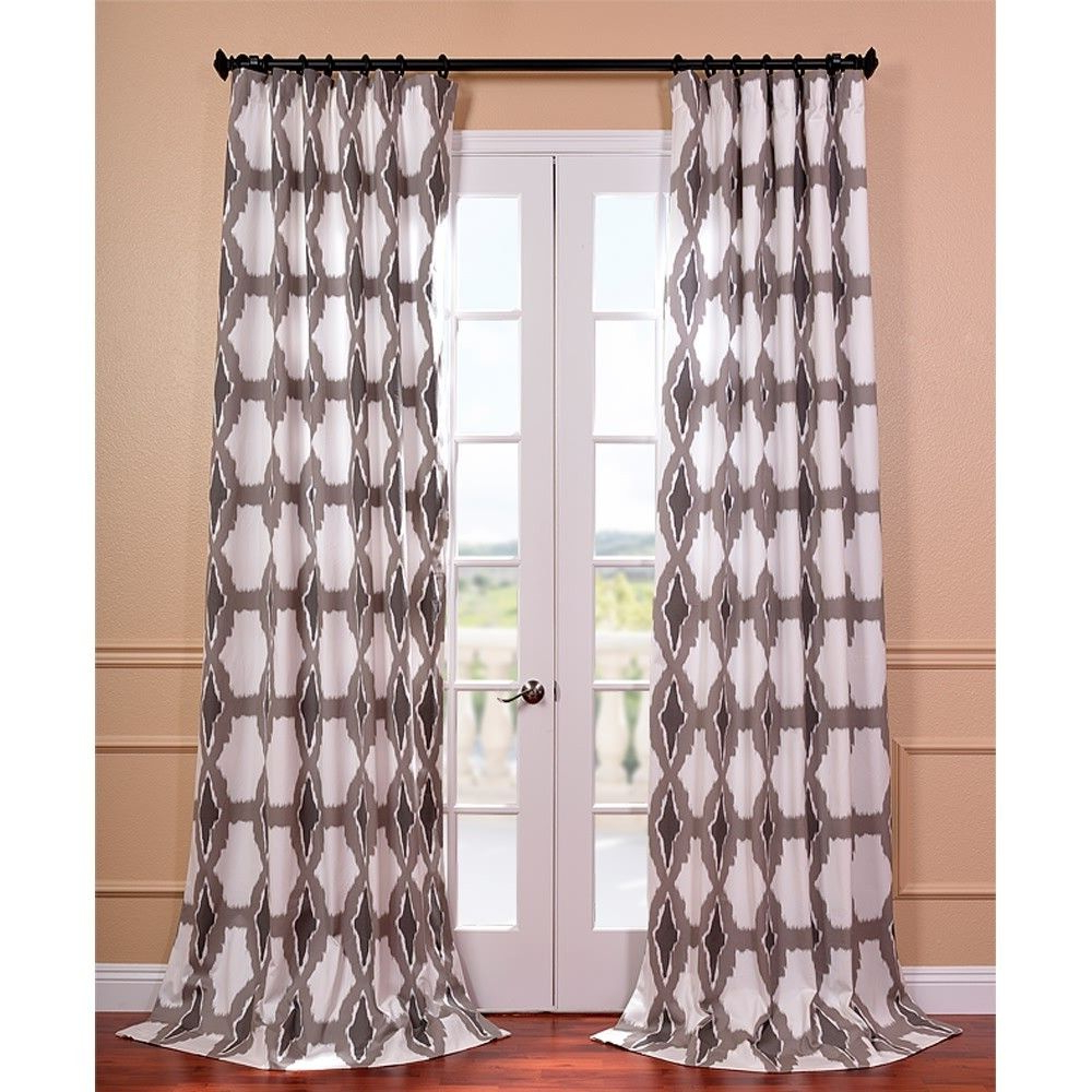 Most Popular Sarong Grey Printed Cotton Pole Pocket Single Curtain Panels With Sorong Grey Printed Cotton Pole Pocket Curtain Panel (View 11 of 20)