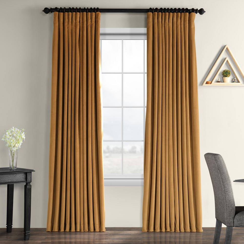 Most Popular Signature Blackout Velvet Curtains For Exclusive Fabrics & Furnishings Blackout Signature Amber Gold Doublewide  Blackout Velvet Curtain – 100 In. W X 84 In (View 7 of 20)