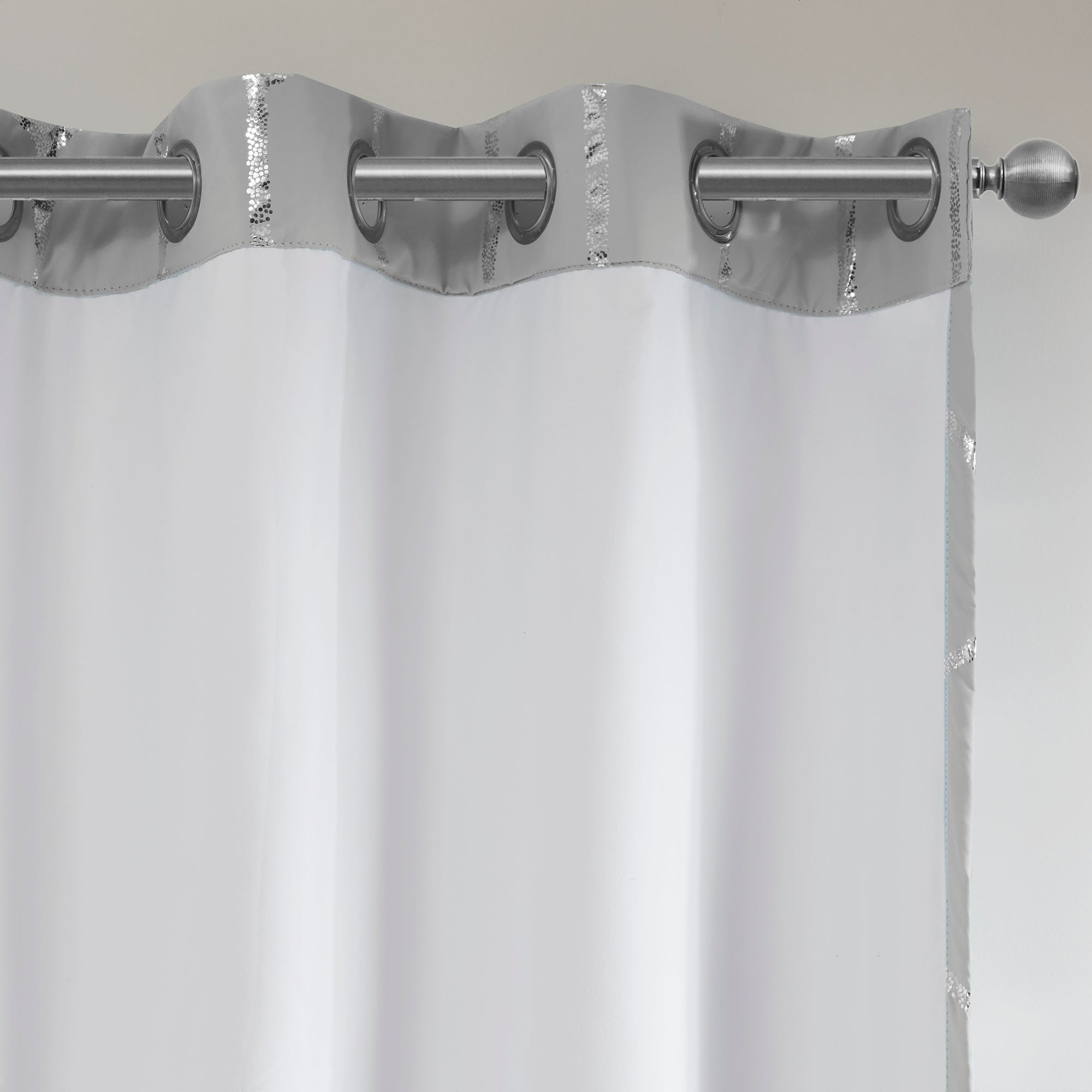 Most Popular Total Blackout Metallic Print Grommet Top Curtain Panels For Intelligent Design Khloe Total Blackout Metallic Print Grommet Top Curtain Panel (View 15 of 20)