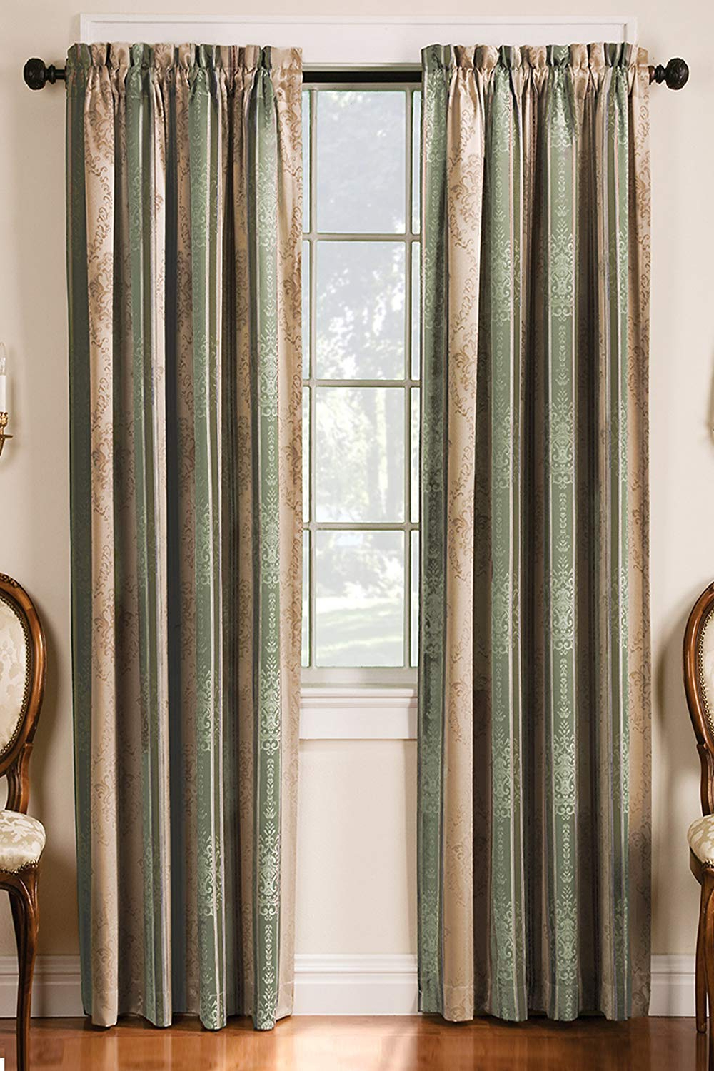 """Most Popular Tuscan Thermal Backed Blackout Curtain Panel Pairs With Regard To 84"""" Long Sage Tuscan Stripe Blackout Rod Pocket Curtain (View 11 of 20)"""