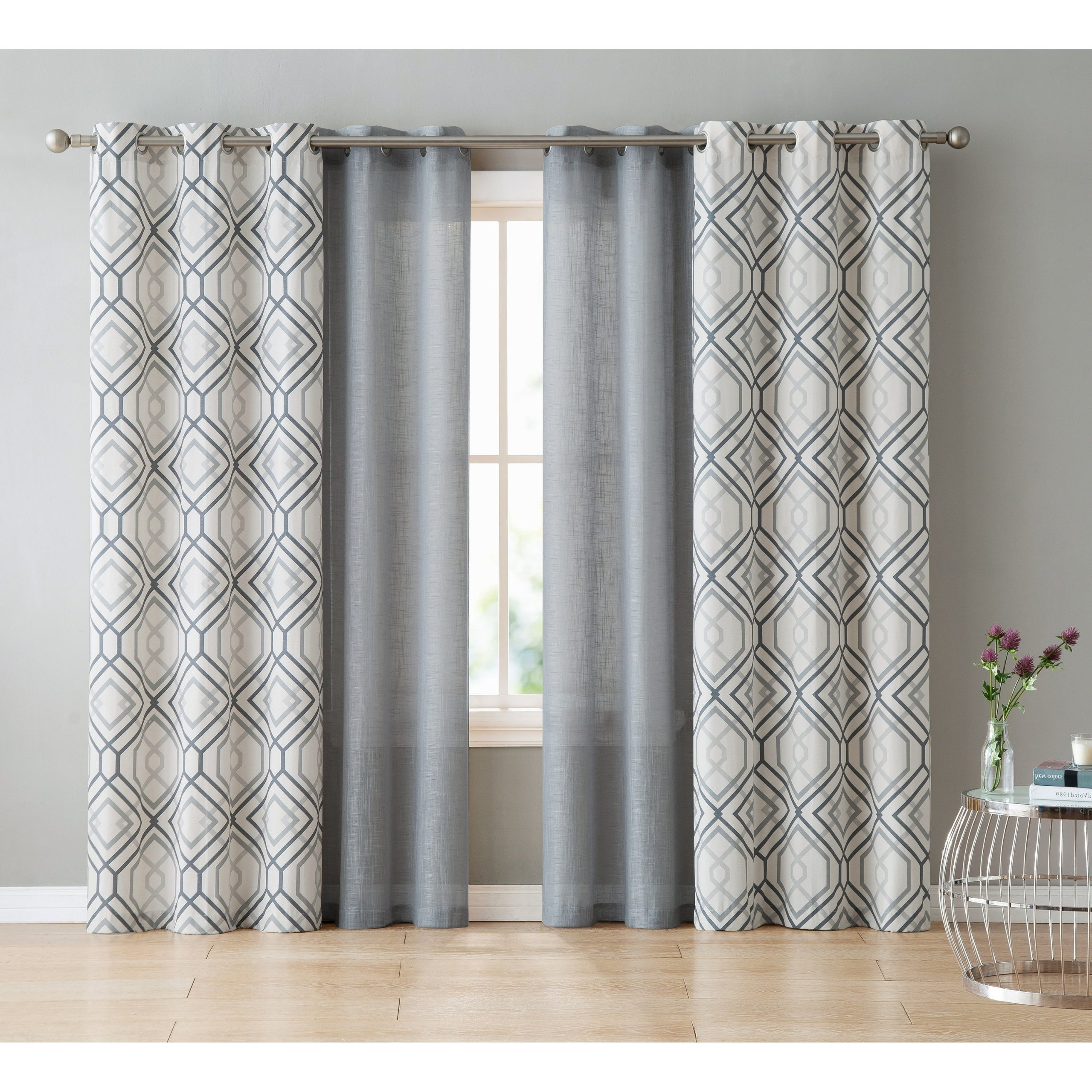 Most Popular Vcny Home Jackston 4 Piece Curtain Panel Set For Essentials Almaden Fretwork Printed Grommet Top Curtain Panel Pairs (Gallery 12 of 20)