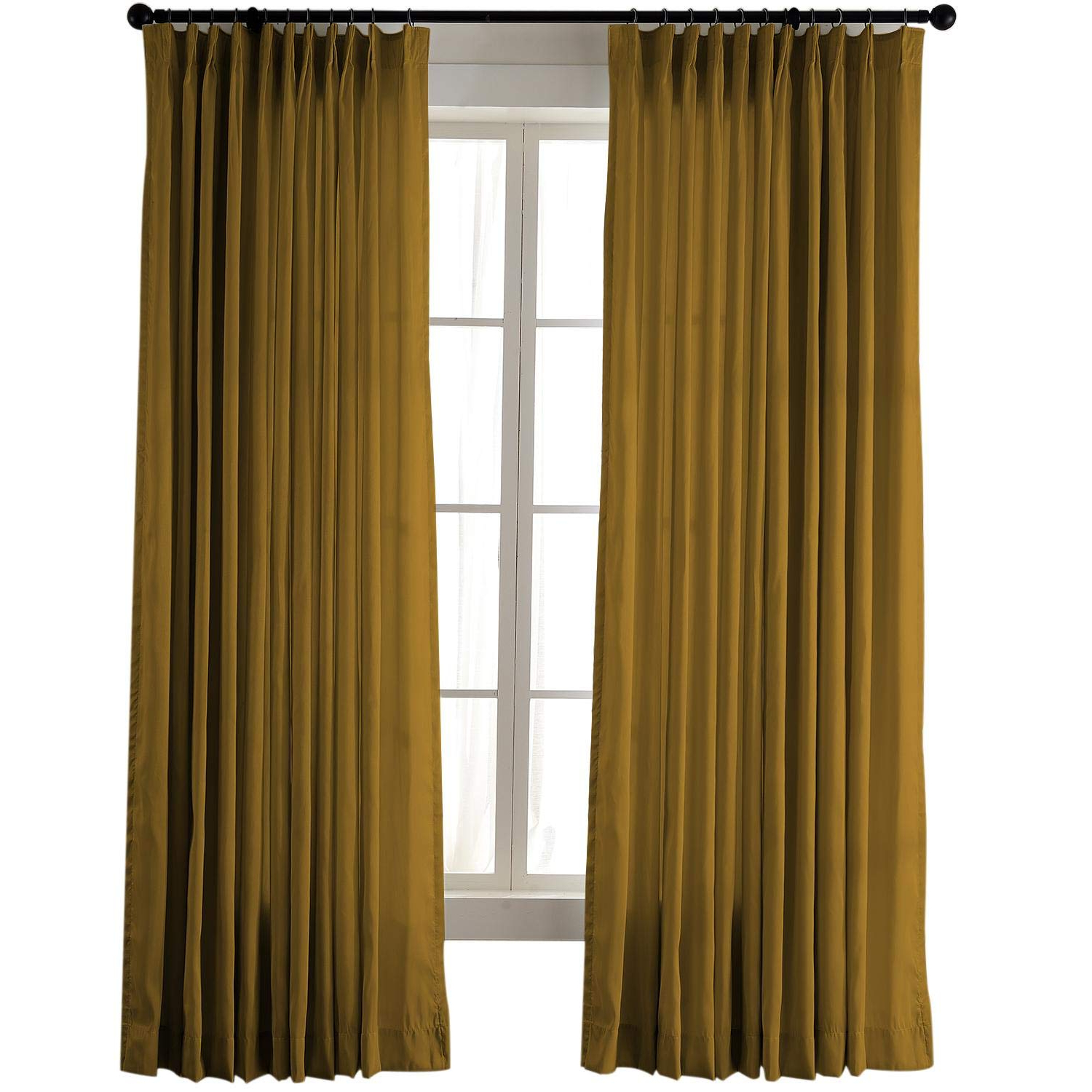 """Most Popular Vintage Textured Faux Dupioni Silk Curtain Panels Regarding Chadmade Vintage Textured Faux Dupioni Silk Drape Curtain Panel Pinch Pleated 50"""" W X 96"""" L With White Blackout Lined, Flax Gold (View 12 of 20)"""