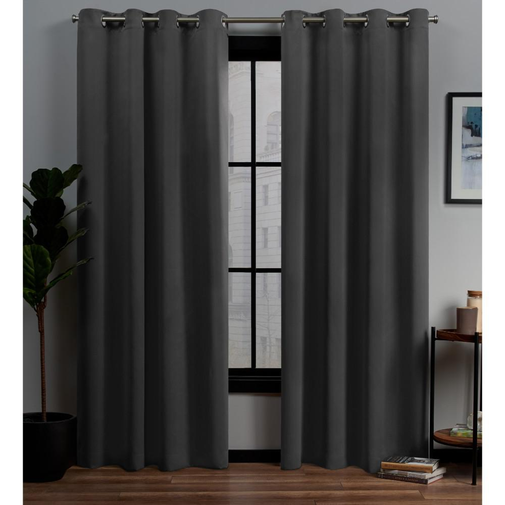 Most Popular Woven Blackout Curtain Panel Pairs With Grommet Top Regarding Exclusive Home Curtains Academy Total Blackout Grommet Top Curtain Panel  Pair In Charcoal – 52 In. W X 96 In (View 12 of 20)