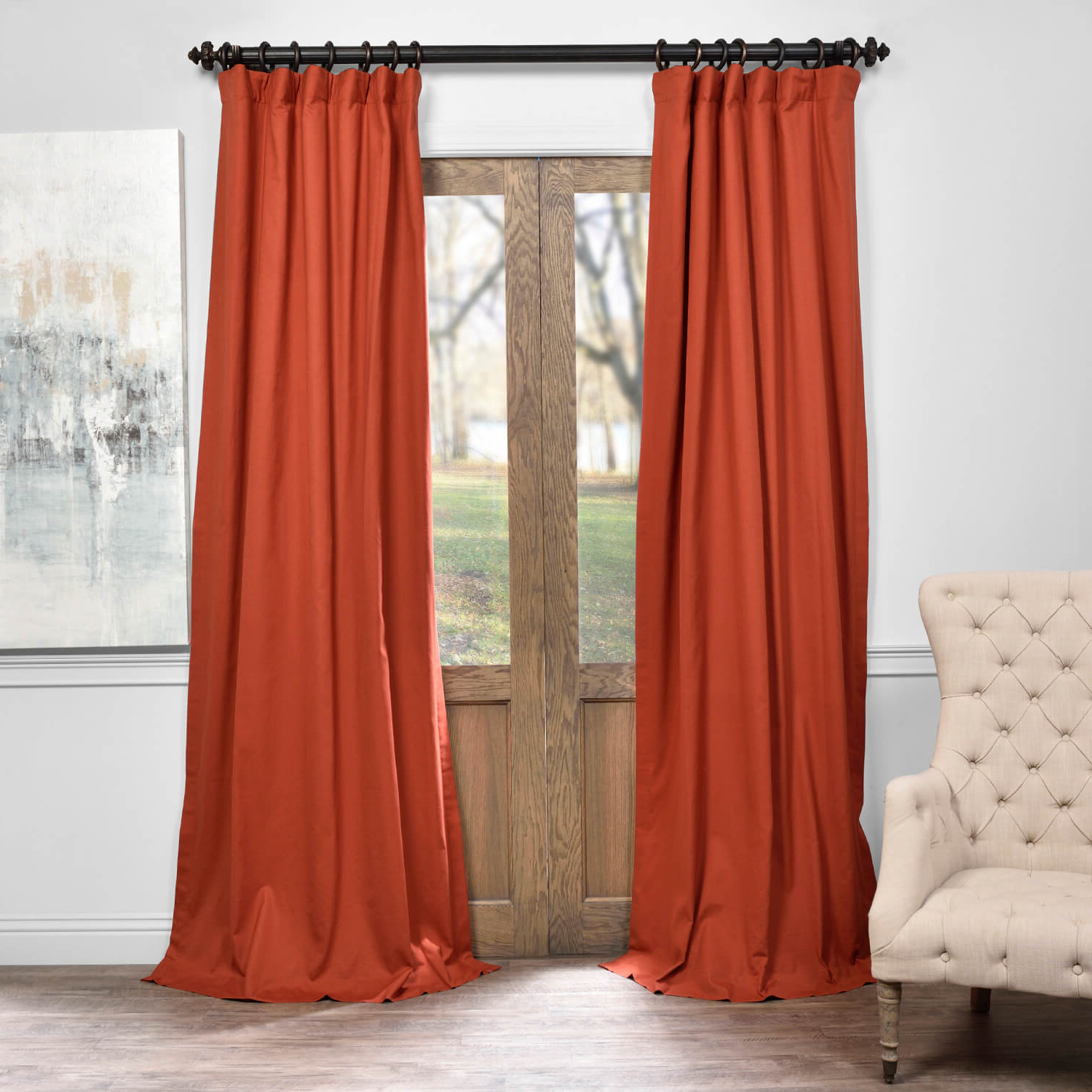 Most Recent Autumn Rust Solid Cotton Blackout Curtain Inside Signature Pinch Pleated Blackout Solid Velvet Curtain Panels (View 13 of 20)