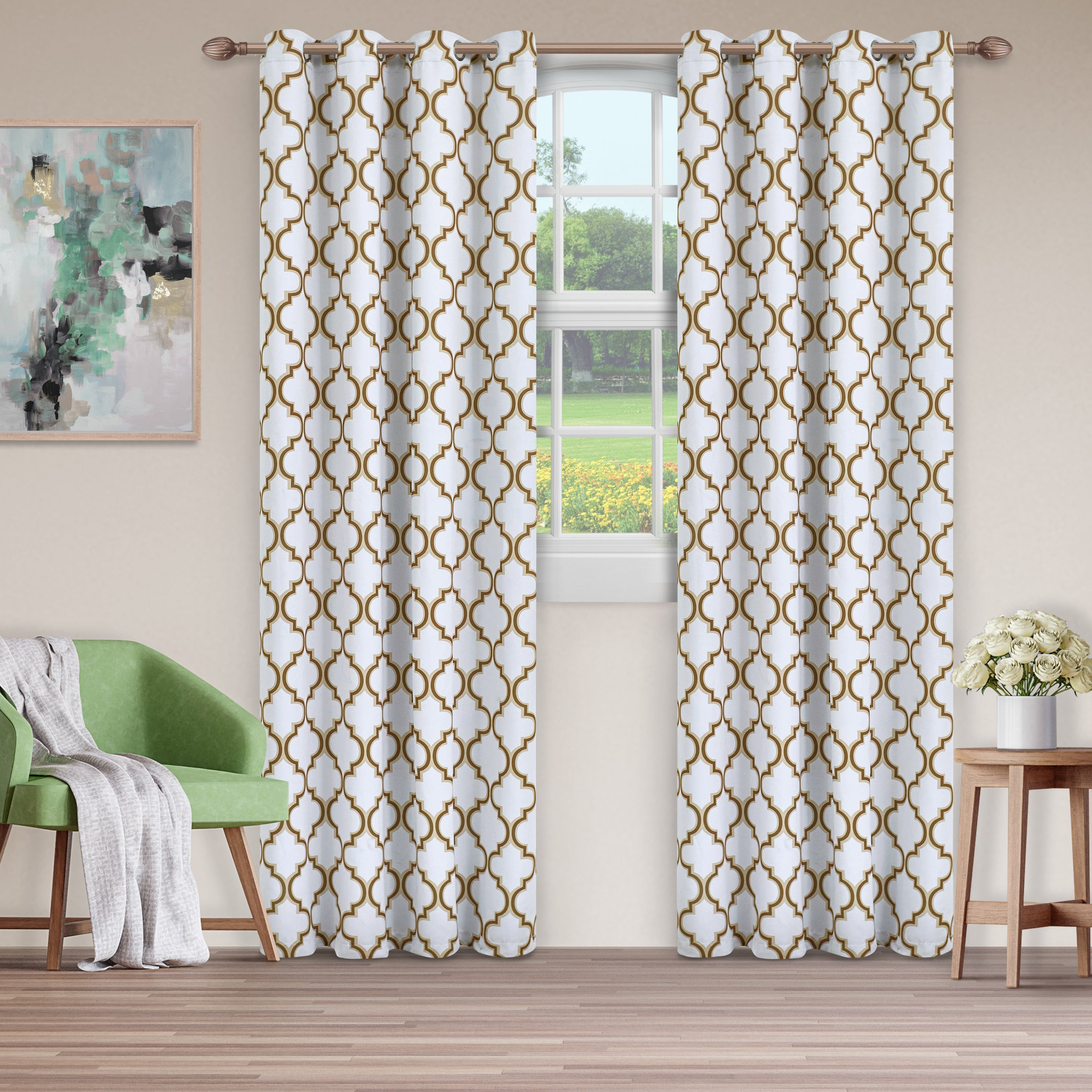 Most Recent Details About Superior Bohemian Trellis Blackout Grommet Curtain Panel With Regard To Superior Solid Insulated Thermal Blackout Grommet Curtain Panel Pairs (View 7 of 20)