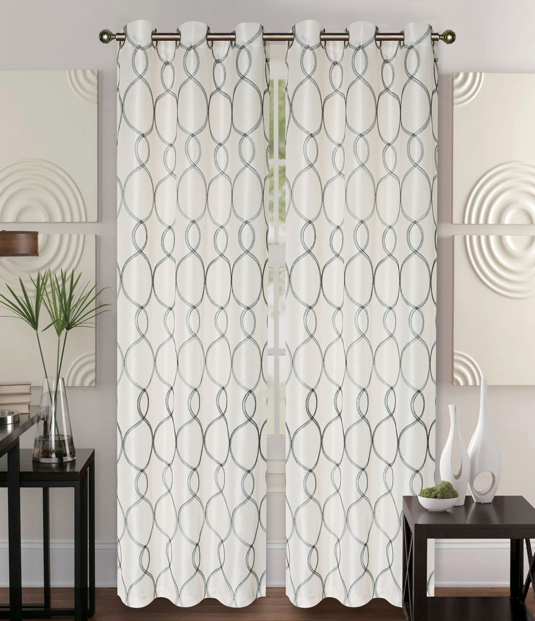 Most Recent Elegant Comfort Window Sheer Curtain Panel Pairs In Pair Of Owen Ivory Faux Silk Window Curtain Panels W/grommets (Gallery 17 of 20)