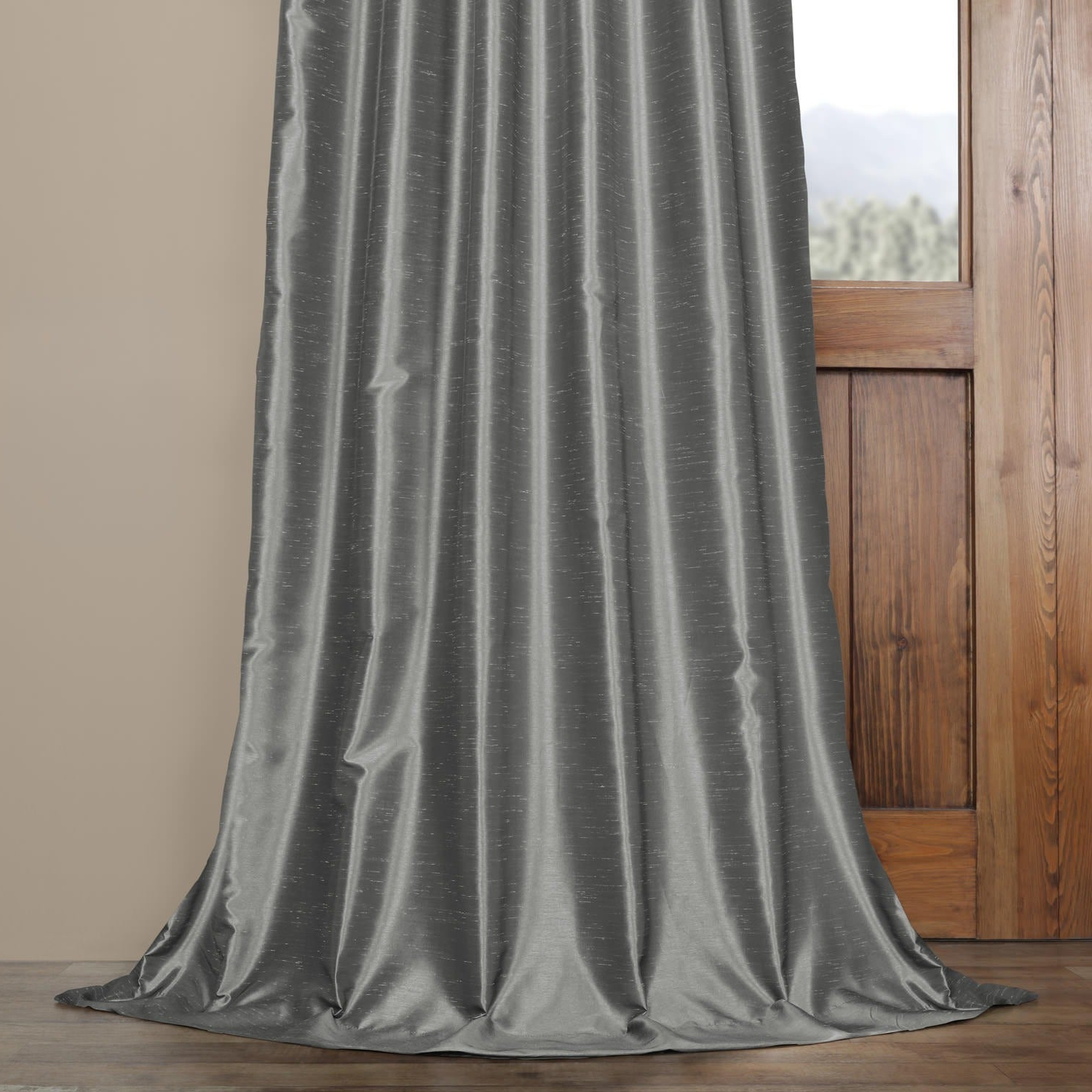 Most Recent Exclusive Fabrics Storm Grey Vintage Faux Textured Dupioni Single Silk  Curtain Panel Intended For Storm Grey Vintage Faux Textured Dupioni Single Silk Curtain Panels (View 7 of 20)