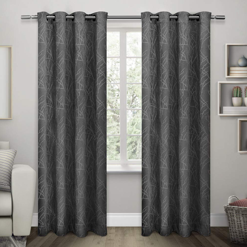 Most Recent Exclusive Home Curtains Twig Insulated Blackout Window Curtain Panel Pair  With Grommet Top, 54X96, Charcoal, 2 Piece Inside Insulated Blackout Grommet Window Curtain Panel Pairs (Gallery 4 of 20)