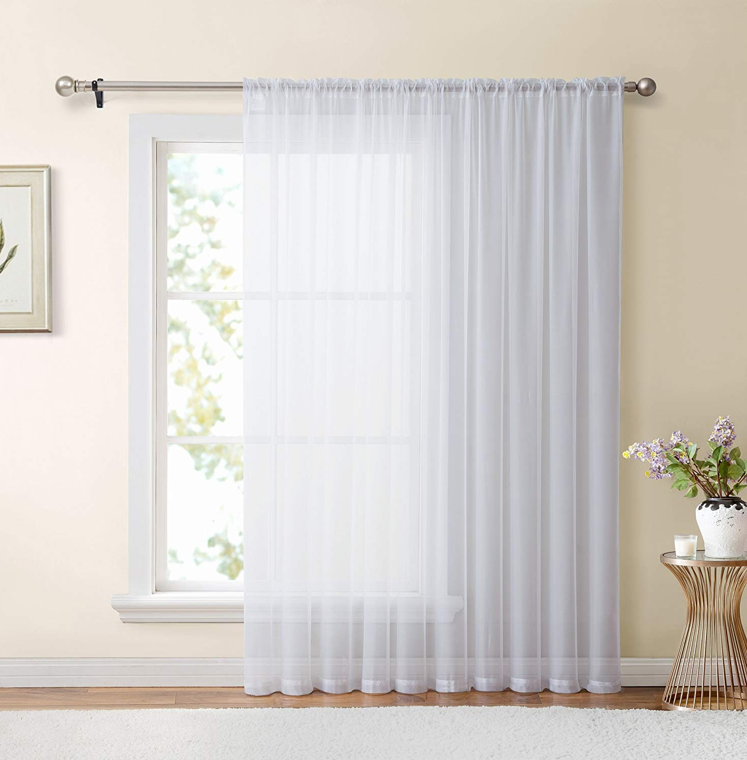 Most Recent Extra Wide White Voile Sheer Curtain Panels In Hlc White Window Sheer Voile Curtain Panel For Sliding Patio Glass Door – Extra Wide Curtain – 100 X 84 Inch Long (View 5 of 20)