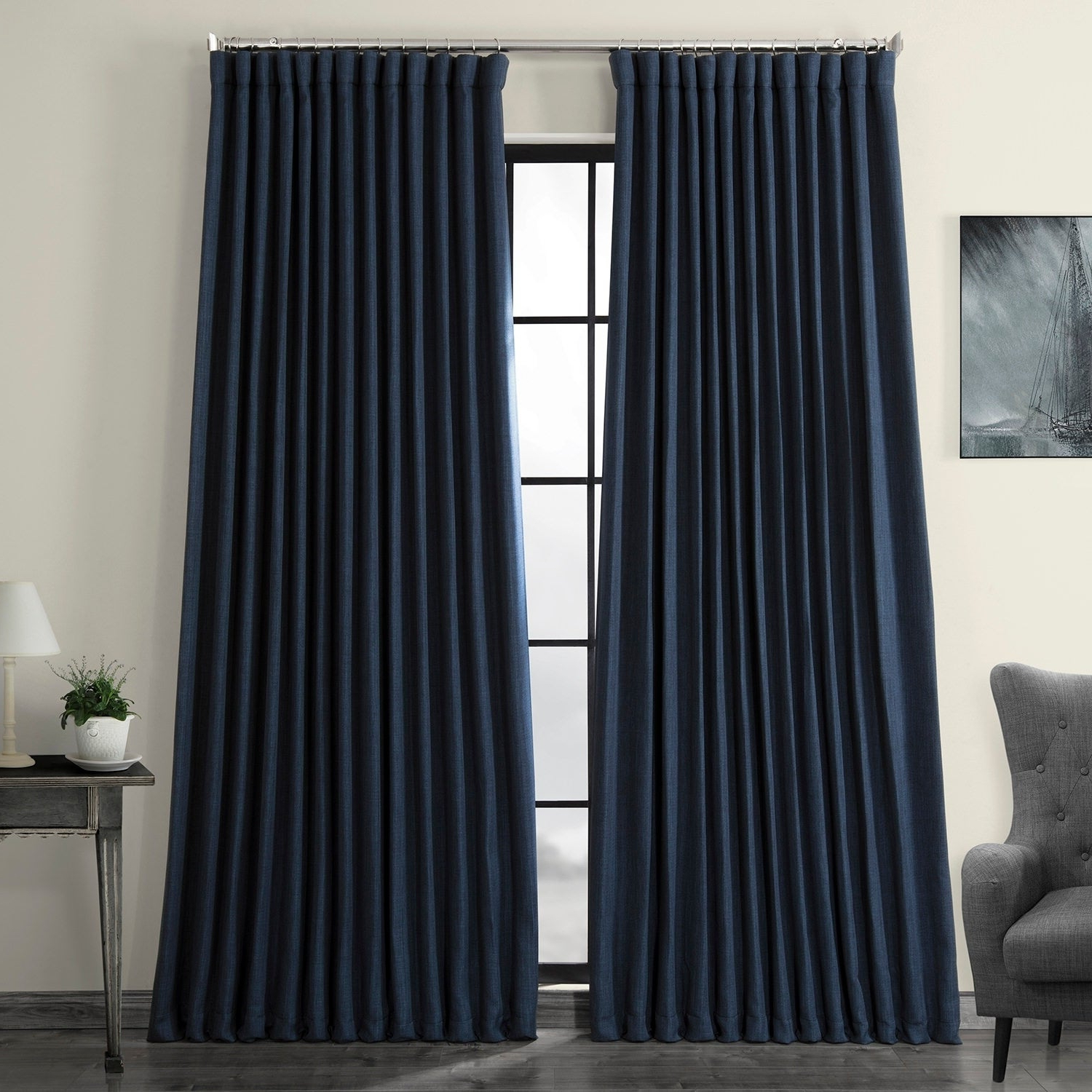 Most Recent Faux Linen Extra Wide Blackout Curtains Pertaining To Exclusive Fabrics Faux Linen Extra Wide Blackout Curtain (Gallery 1 of 21)
