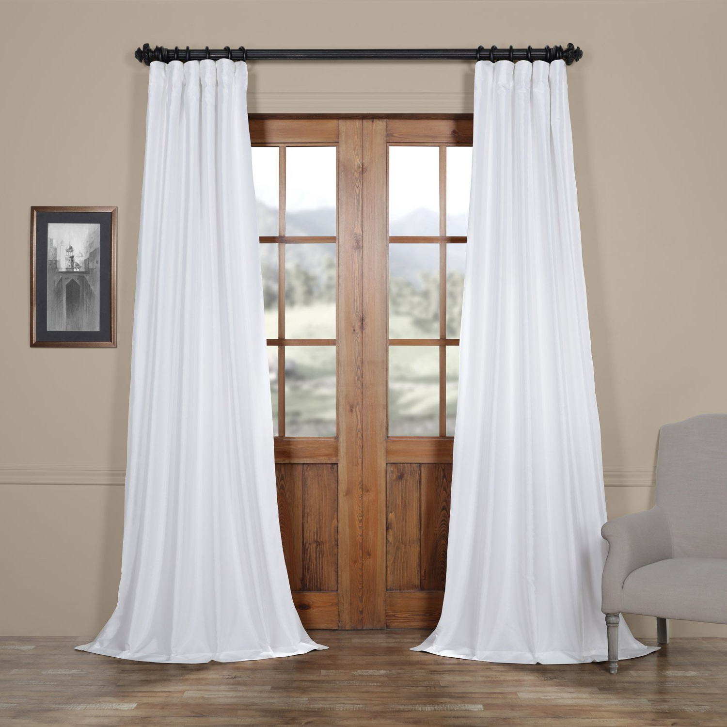 Most Recent Faux Silk Taffeta Solid Blackout Single Curtain Panels Intended For Exclusive Fabrics Faux Silk Taffeta Solid Blackout Curtain (Gallery 7 of 20)