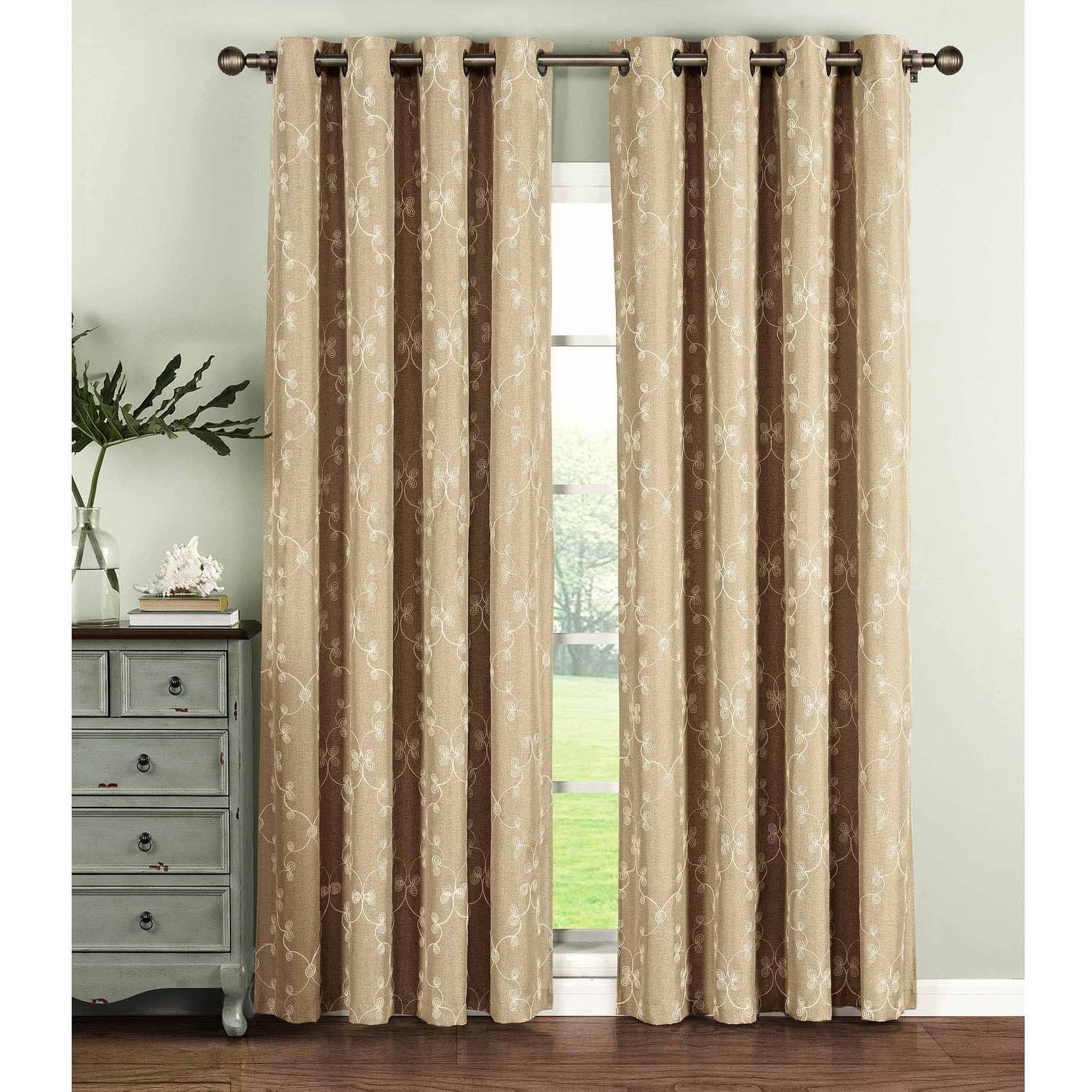 Most Recent Geo Gate Embroidered Faux Linen Extra Wide Grommet Curtain Panel Pairs In Curtain Panel Pairs (Gallery 12 of 20)