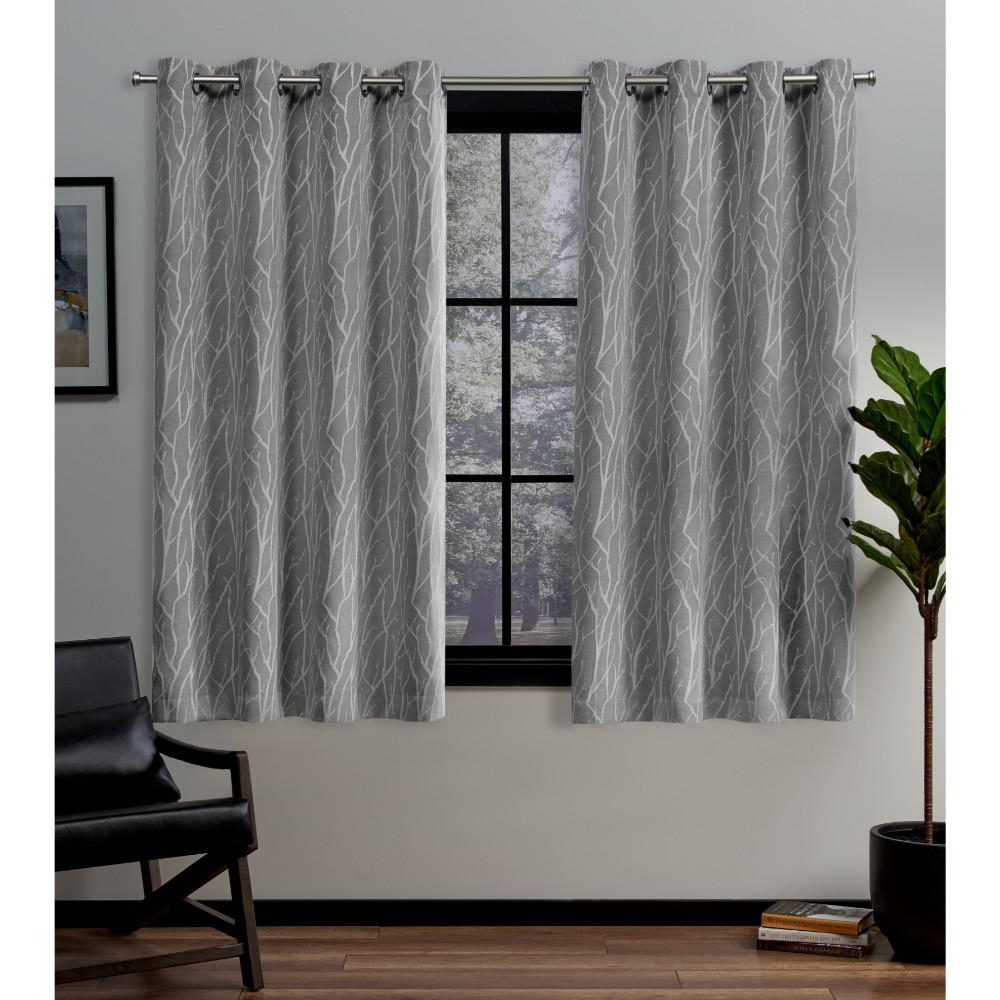 Most Recent Grey Printed Curtain Panels With Exclusive Home Curtains Forest Hill 52 In. W X 63 In. L Woven Blackout  Grommet Top Curtain Panel In Ash Grey (2 Panels) (Gallery 19 of 20)