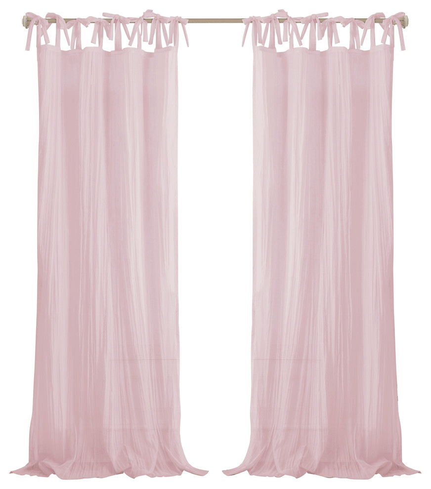 "Most Recent Jolie Sheer Tie Top Window Curtain, Pink, 52""x84"" Regarding Elrene Versailles Pleated Blackout Curtain Panels (View 19 of 20)"