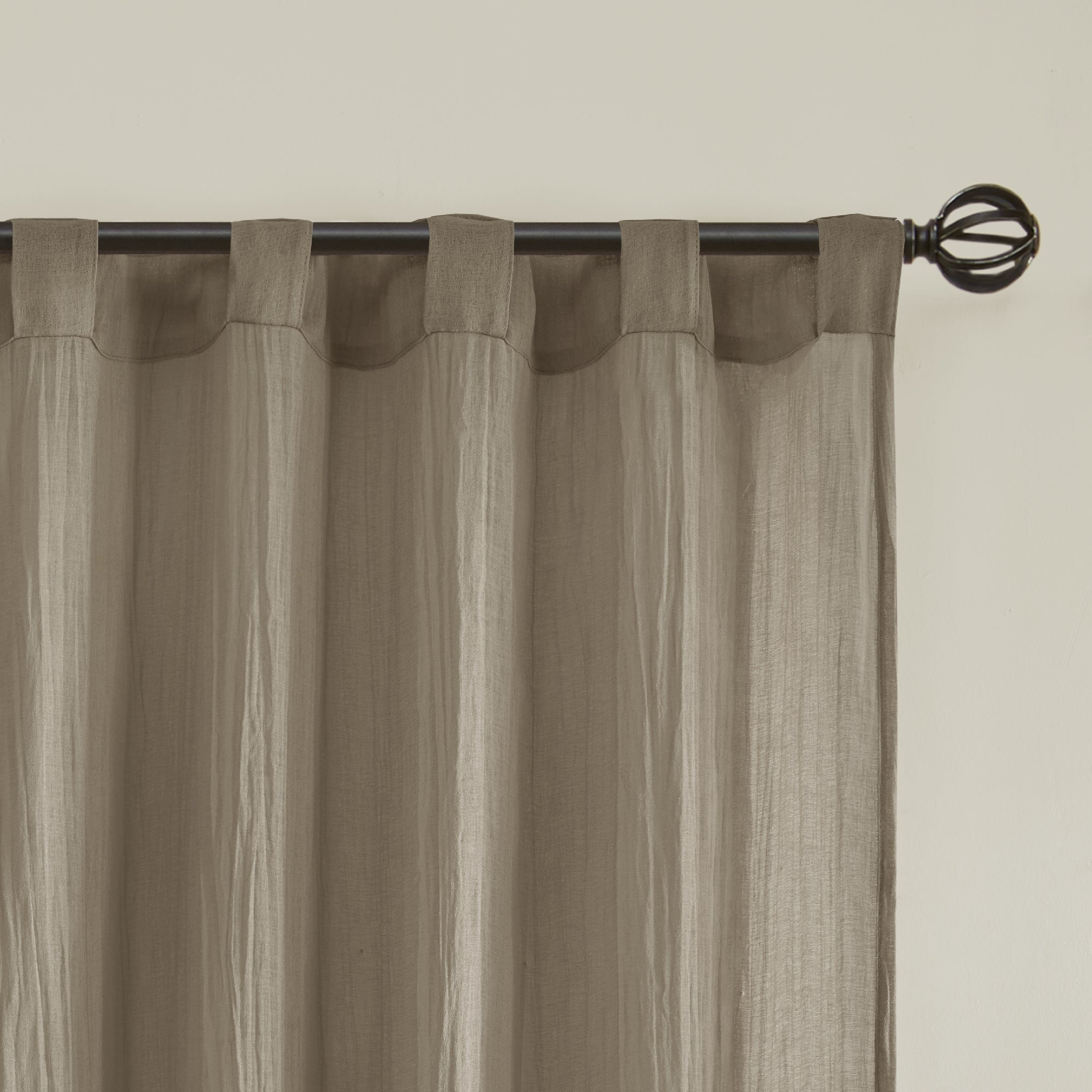 Most Recent Kaylee Solid Crushed Sheer Window Curtain Pairs Throughout Madison Park Kaylee Solid Crushed Sheer Window Curtain Pair (Gallery 5 of 20)