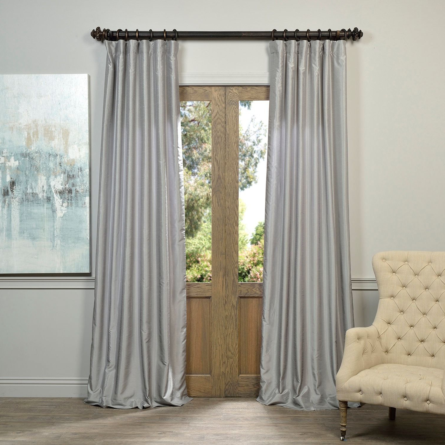 Most Recent Li>Set Includes: One (1) Panel</li> <Li>Pattern: Textured For Storm Grey Vintage Faux Textured Dupioni Single Silk Curtain Panels (View 8 of 20)