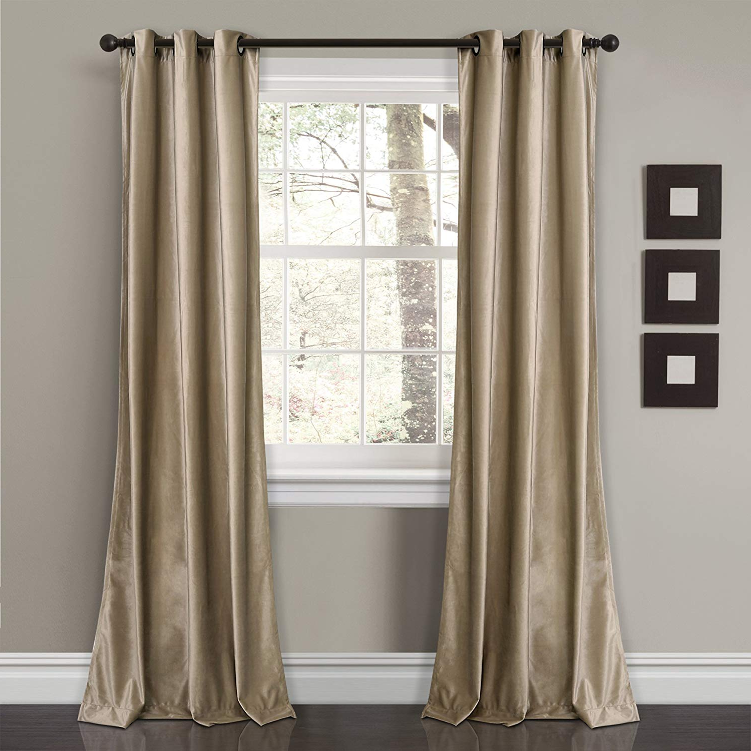 """Most Recent Lush Decor Prima Velvet Curtains Solid Color Room Darkening Window Panel Set For Living, Dining, Bedroom (pair), 84"""" L, Taupe With Regard To Velvet Solid Room Darkening Window Curtain Panel Sets (View 3 of 20)"""