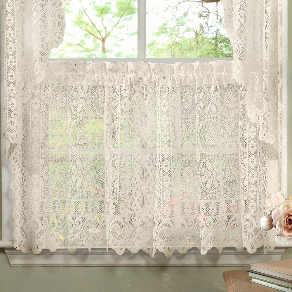 Most Recent Luxurious Old World Style Lace Window Curtain Panels Intended For Luxurious Old World Style Lace Kitchen Curtains Tiers And Valances In Cream (View 5 of 20)