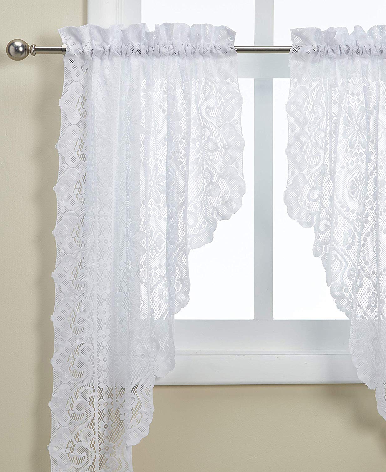 Most Recent Luxurious Old World Style Lace Window Curtain Panels With Regard To Lorraine Home Fashions Hopewell Lace Window Swags, 58 Inch38 Inch, White, Set Of (View 16 of 20)