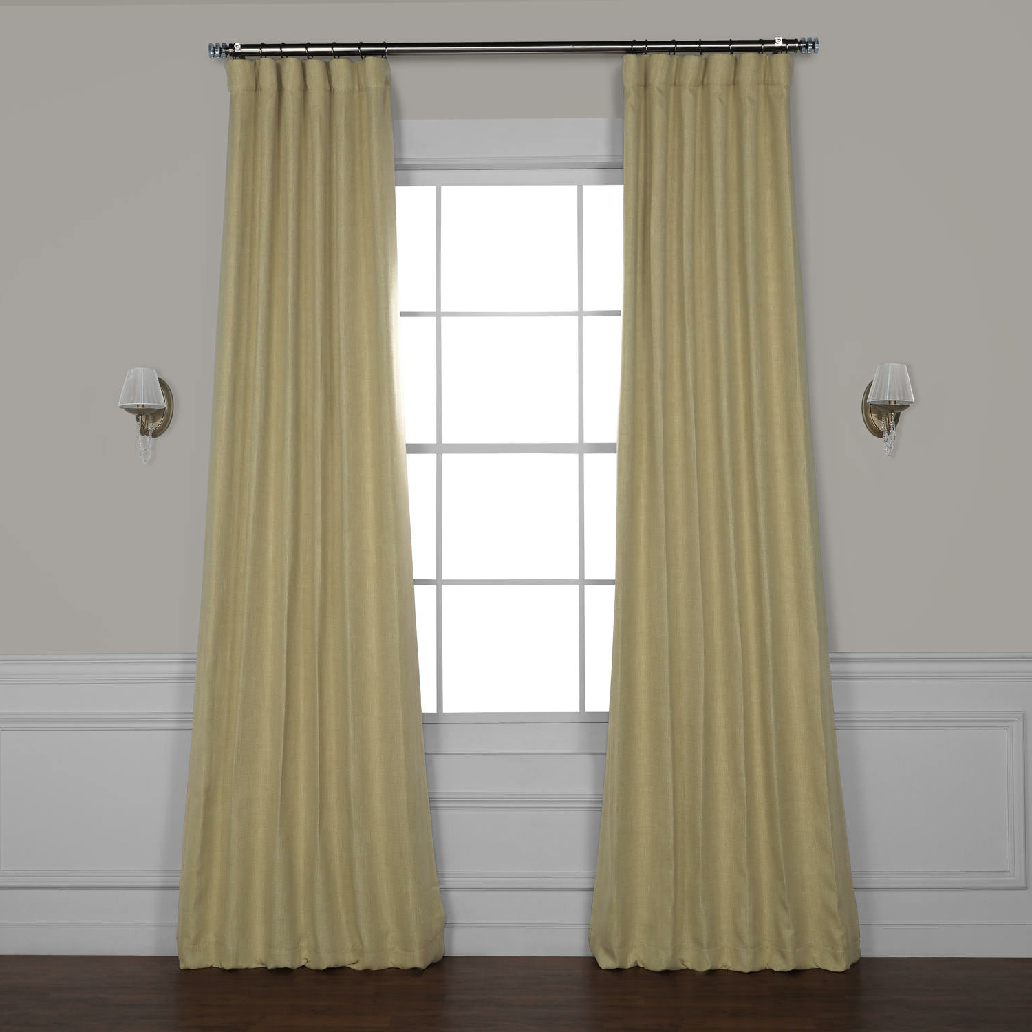 Most Recent Luxury Collection Faux Leather Blackout Single Curtain Panels Within Clem Faux Linen Room Darkening Rod Pocket Single Curtain Panel (View 12 of 20)