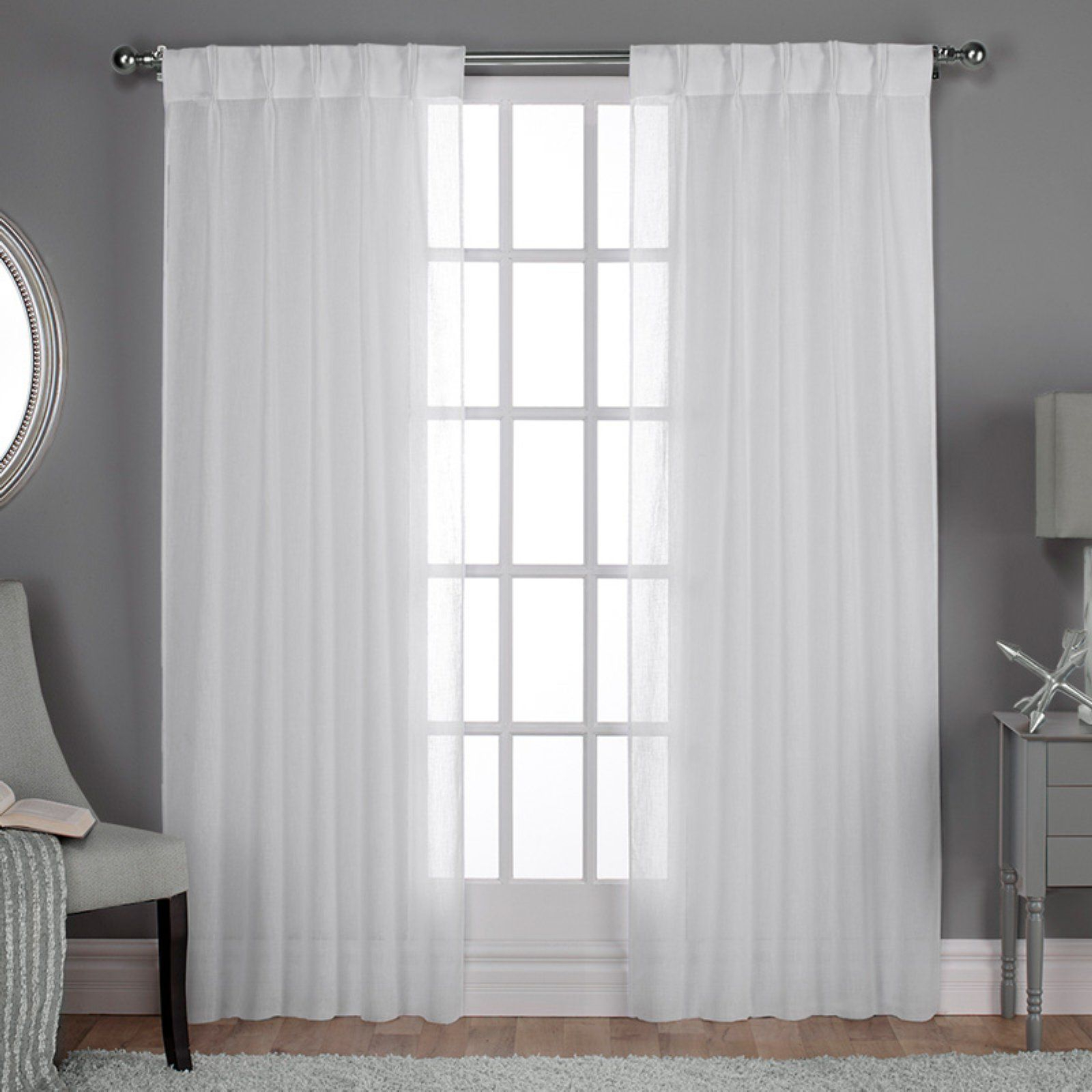 Most Recent Lydia Ruffle Window Curtain Panel Pairs Pertaining To Exclusive Home Belgian Pleated Jacquard Sheer Window Curtain (View 14 of 20)