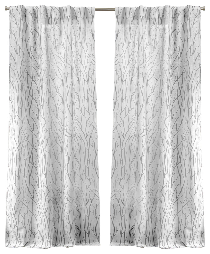 Most Recent Oakdale Motif Textured Linen Hidden Tab Top Curtain Panel Pair, Dove Gray, 54X96 Intended For Oakdale Textured Linen Sheer Grommet Top Curtain Panel Pairs (Gallery 12 of 20)