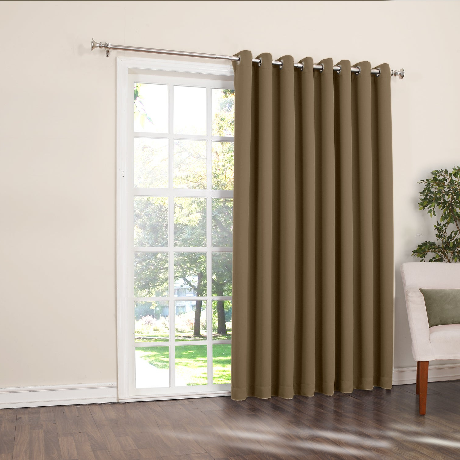Most Recent Porch & Den Nantahala Extra Wide Patio Door Curtain Panel Pertaining To Grommet Blackout Patio Door Window Curtain Panels (Gallery 7 of 20)