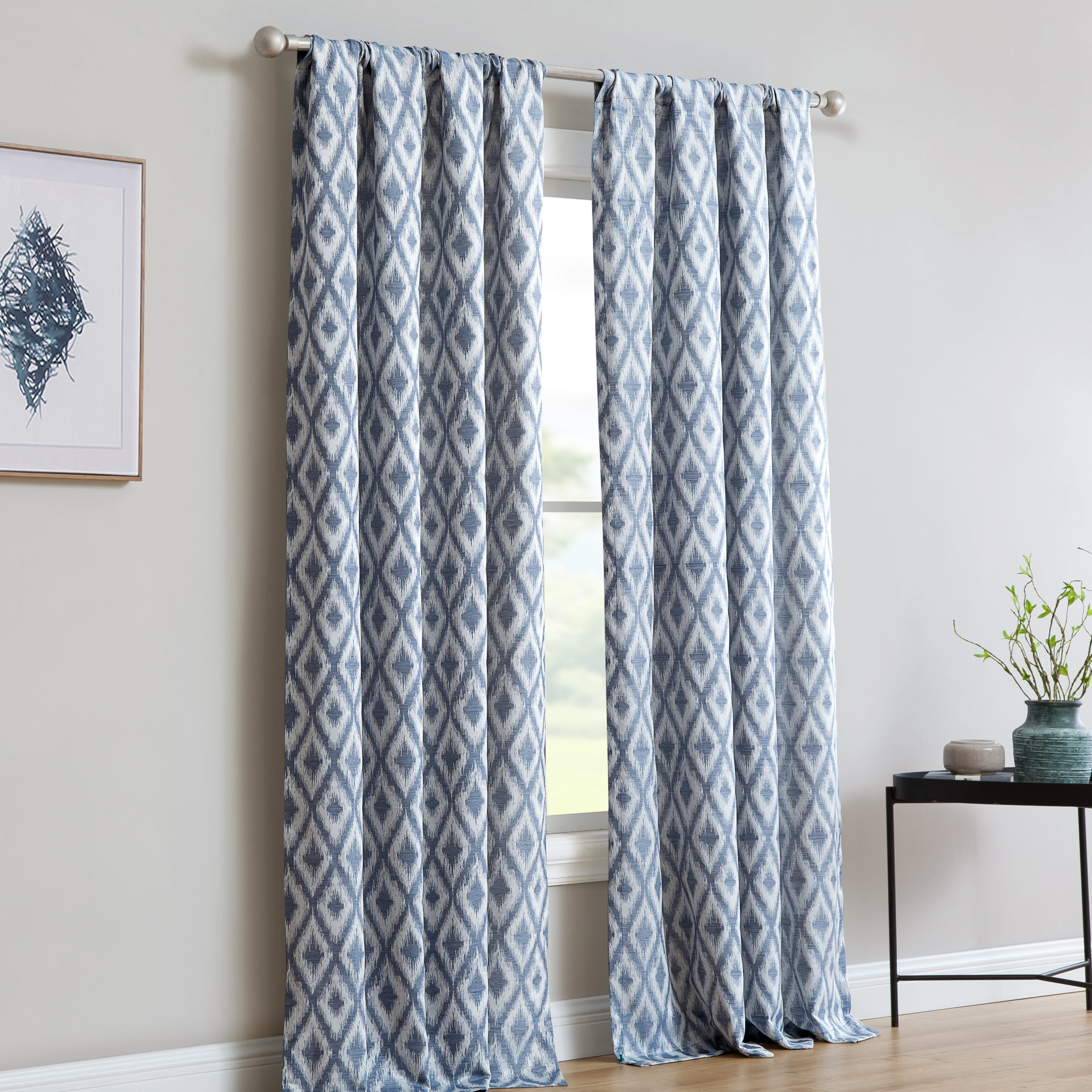 Most Recent Pottorff Jacquard Window With Ikat Room Darkening Rod Pocket Single Curtain Panel Intended For Ikat Blue Printed Cotton Curtain Panels (View 19 of 20)