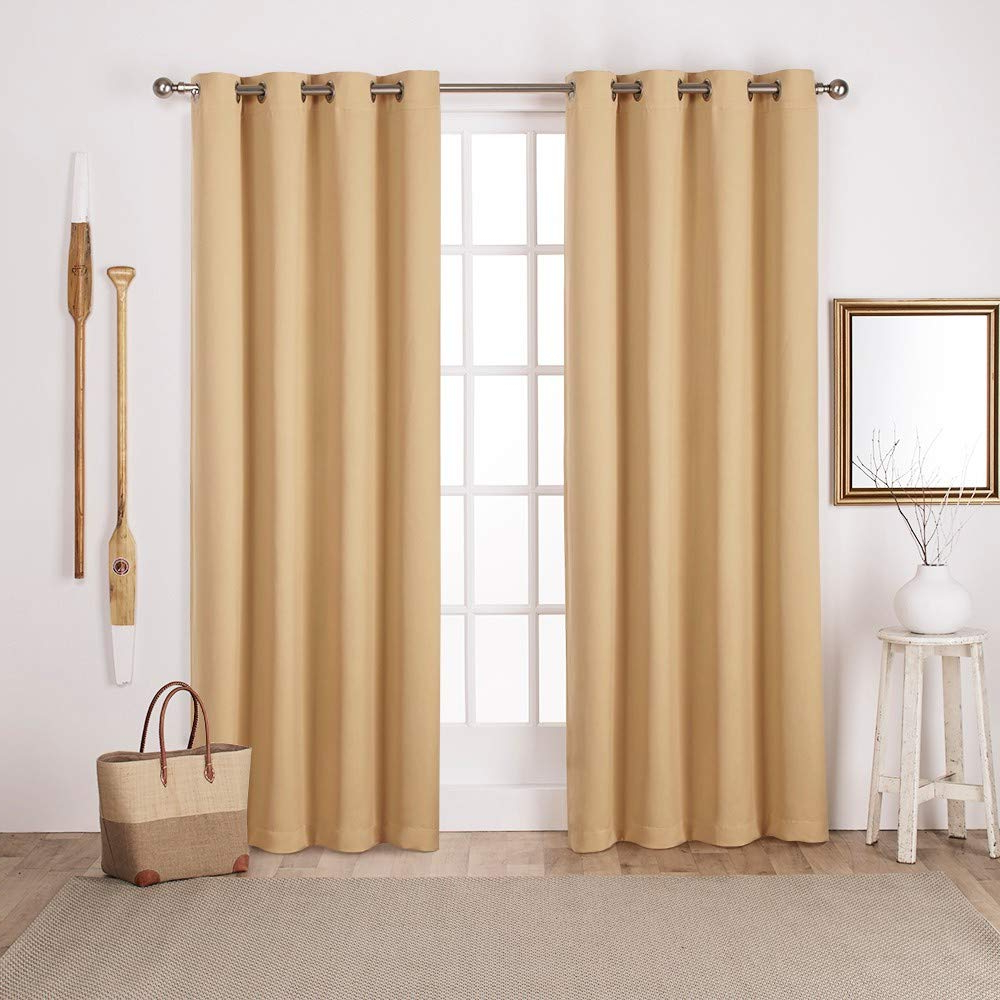 Most Recent Sateen Twill Weave Insulated Blackout Window Curtain Panel Pairs Throughout Exclusive Home Sateen Twill Woven Blackout Grommet Top Curtain Panel Pair, Sundress Yellow, 52X84, 2 Piece (View 13 of 20)