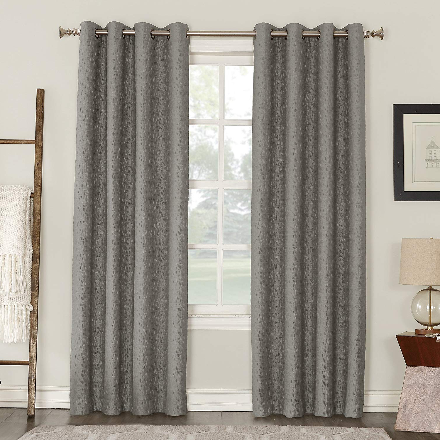 "Most Recent Sun Zero Takoda Puckered Geometric Blackout Lined Grommet Curtain Panel, 52"" X 84"", Gray Inside Lined Grommet Curtain Panels (View 17 of 20)"