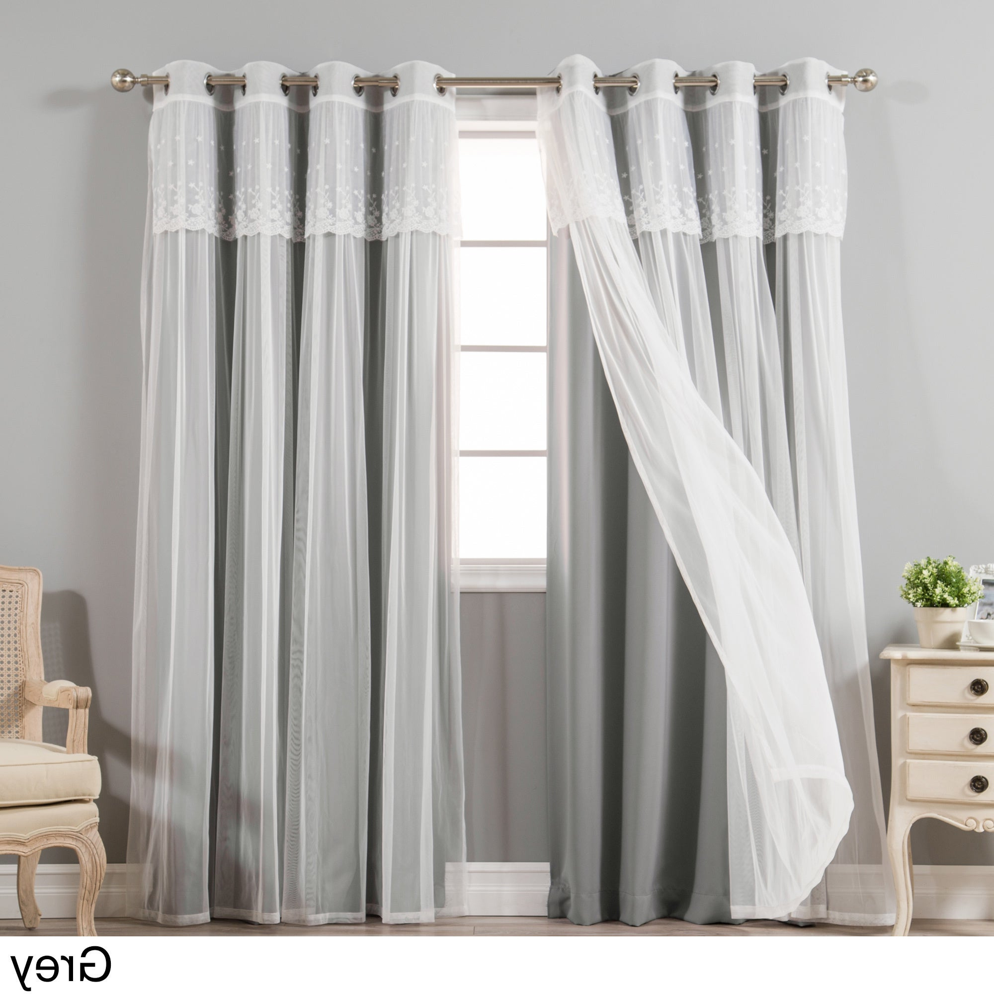 Featured Photo of Tulle Sheer With Attached Valance And Blackout 4 Piece Curtain Panel Pairs