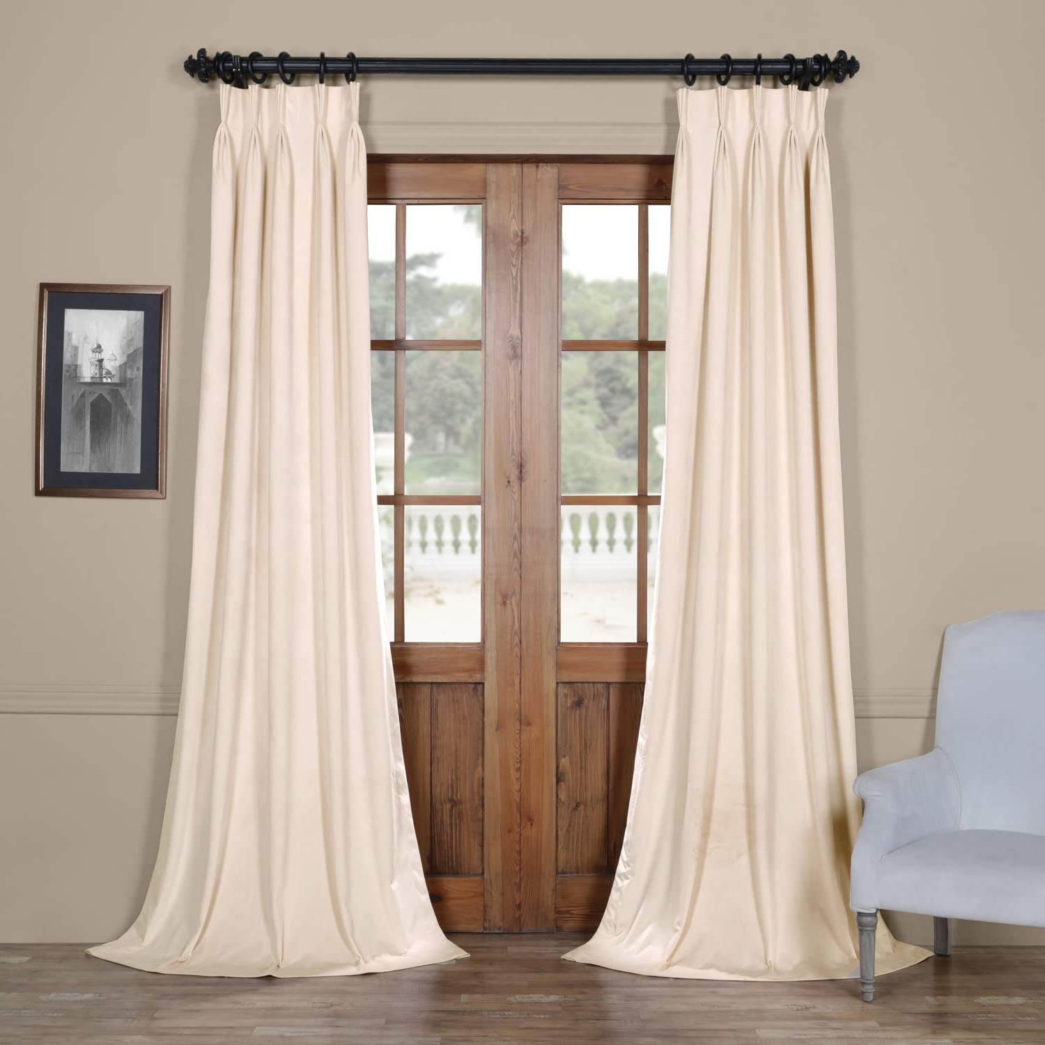 """Most Recent Vpch 120601 96 Fp Signature Pleated Blackout Velvet Curtain, 25 X 96"""", Ivory With Regard To Signature Ivory Velvet Blackout Single Curtain Panels (View 9 of 20)"""