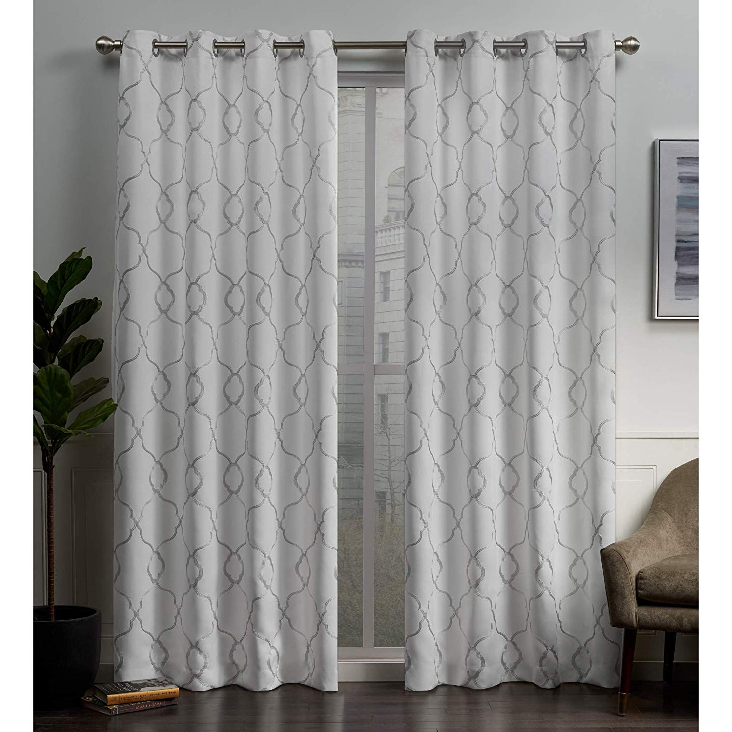 Most Recent Woven Blackout Curtain Panel Pairs With Grommet Top In Exclusive Home Curtains Belmont Embroidered Woven Blackout Grommet Top  Curtain Panel Pair, 52x96, Winter (View 1 of 20)