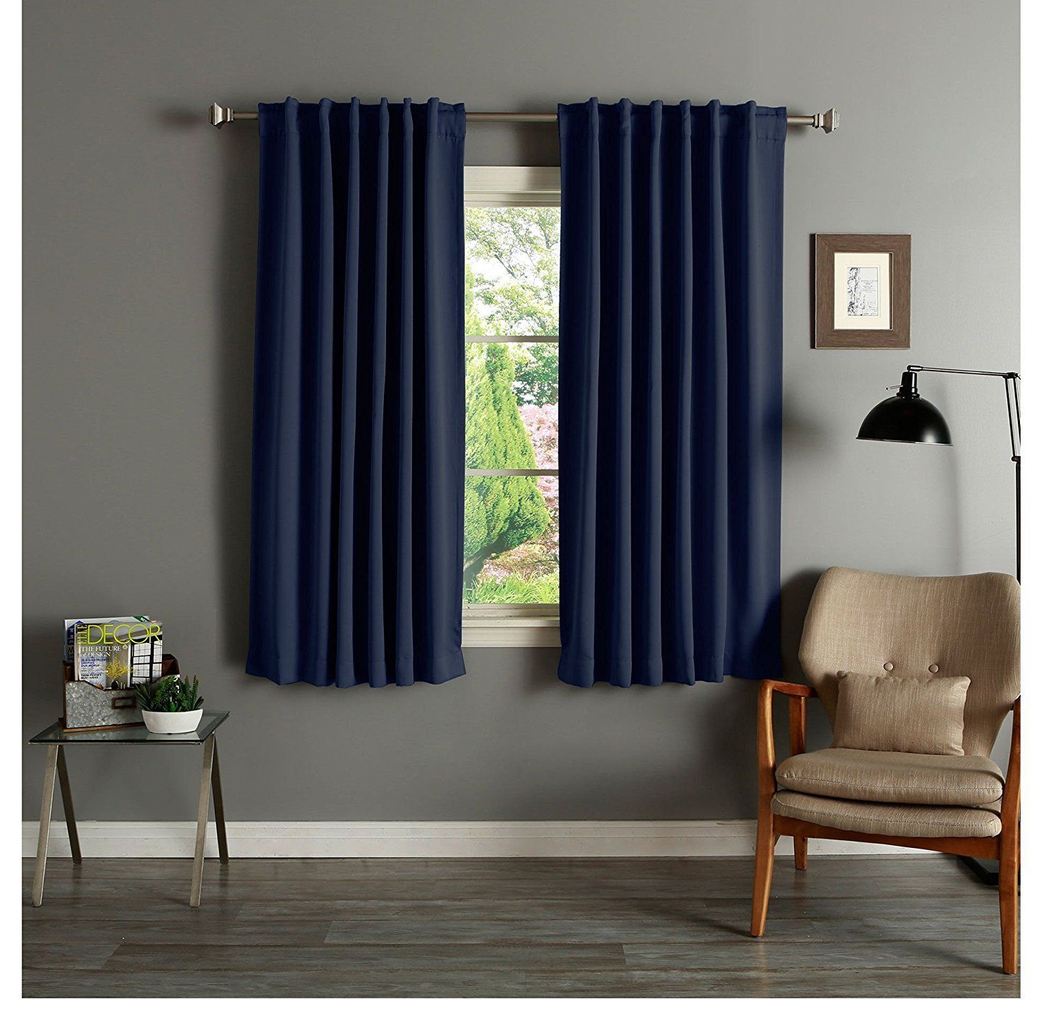 Most Recently Released 63 Inch Girls Navy Solid Color Blackout Curtain Panel Pair For Thermal Rod Pocket Blackout Curtain Panel Pairs (View 6 of 20)