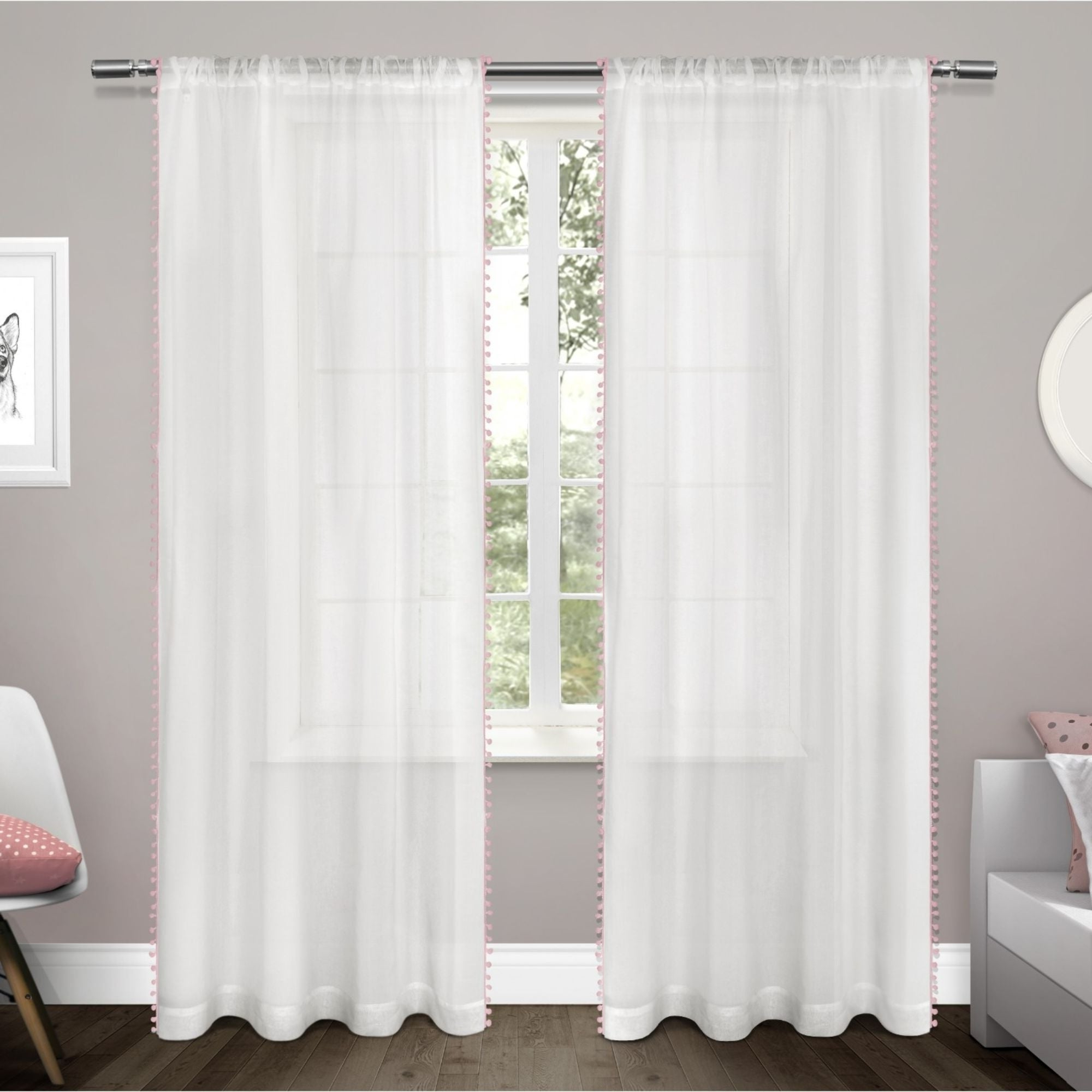 Most Recently Released Ati Home Pom Pom Applique Sheer Rod Pocket Top Curtain Panel Pair With Tassels Applique Sheer Rod Pocket Top Curtain Panel Pairs (View 9 of 20)