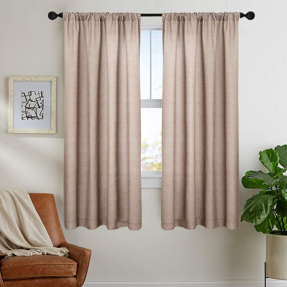 Most Recently Released Beige Cotton Curtains For Bedroom Solid Cotton Curtains 63 Inches Long Window Curtain Panels For Living Room Rod Pocket, 2 Panels Within Solid Cotton Curtain Panels (View 7 of 20)