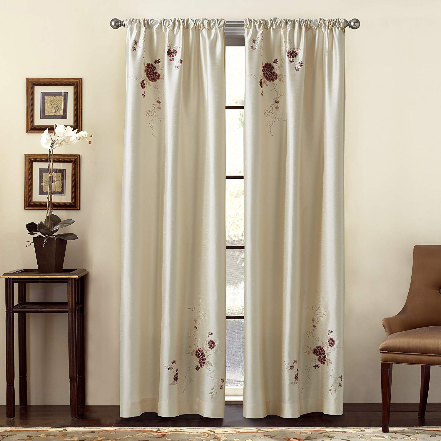 Most Recently Released Chf & You Alesandra Floral Embroidered Faux Silk Window Curtain Panel, Ivory, 44 Inch X 63 Inch With Regard To Ofloral Embroidered Faux Silk Window Curtain Panels (View 3 of 20)