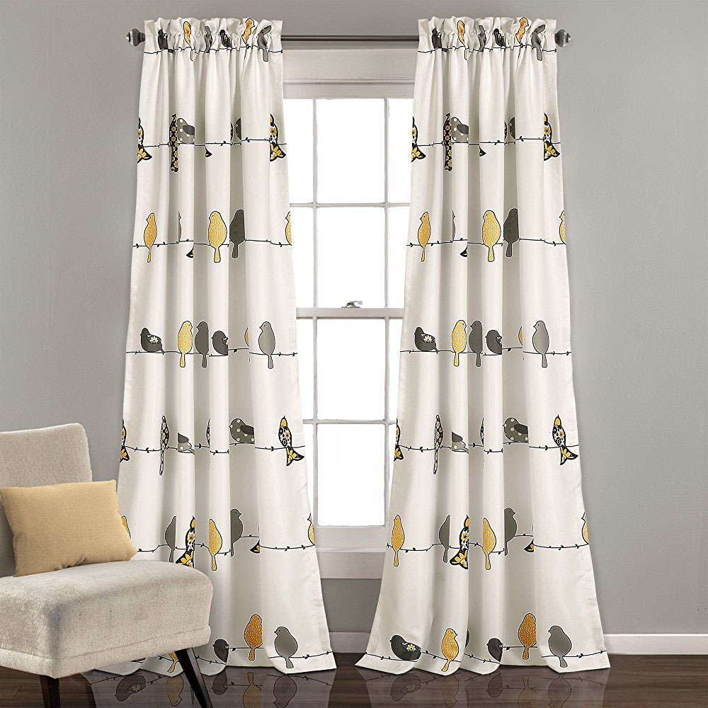 Most Recently Released Country Bird Print Cartoon Yellow Gray Window Curtain Panels Regarding Grey Printed Curtain Panels (View 15 of 20)