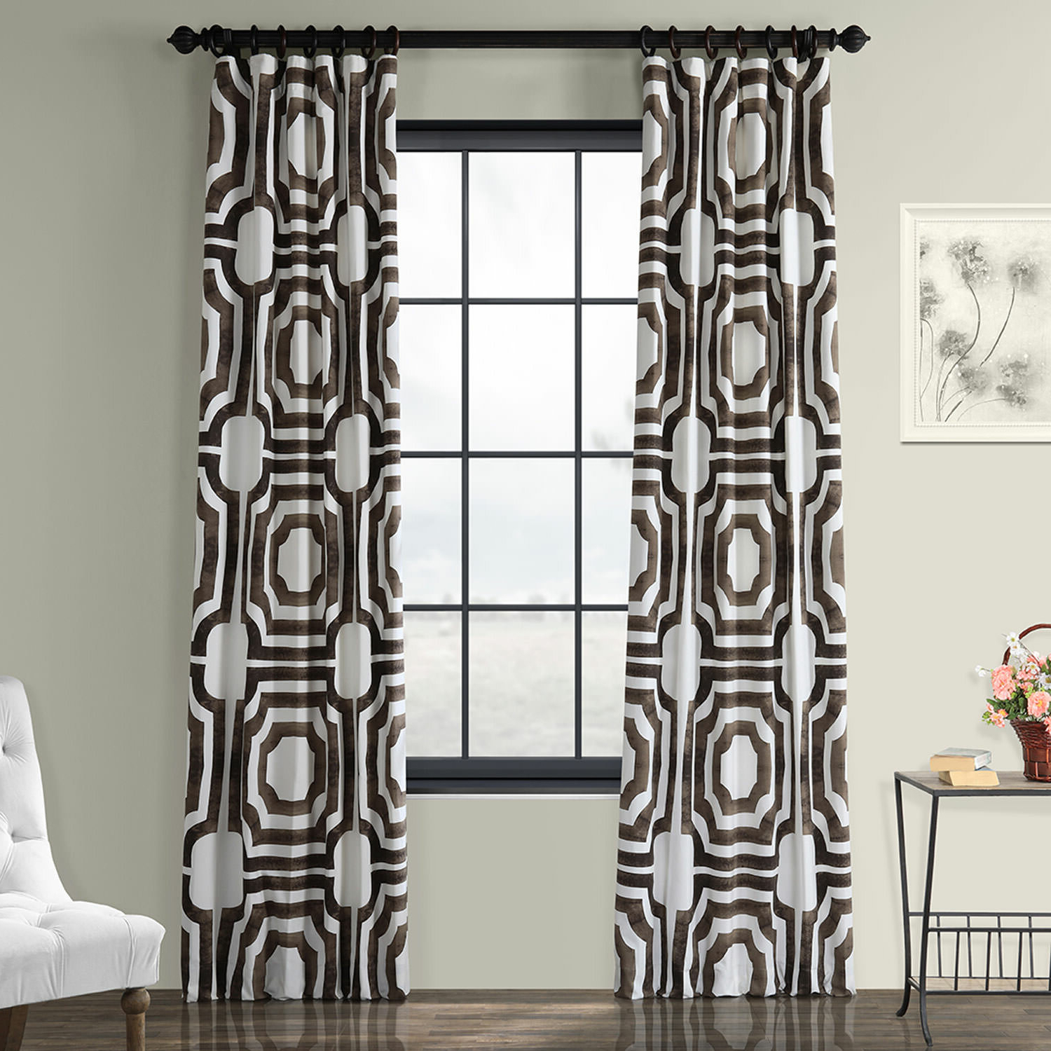 Most Recently Released Donato Geometric Printed Cotton Room Darkening Rod Pocket Single Curtain  Panel Intended For Fretwork Print Pattern Single Curtain Panels (View 10 of 20)