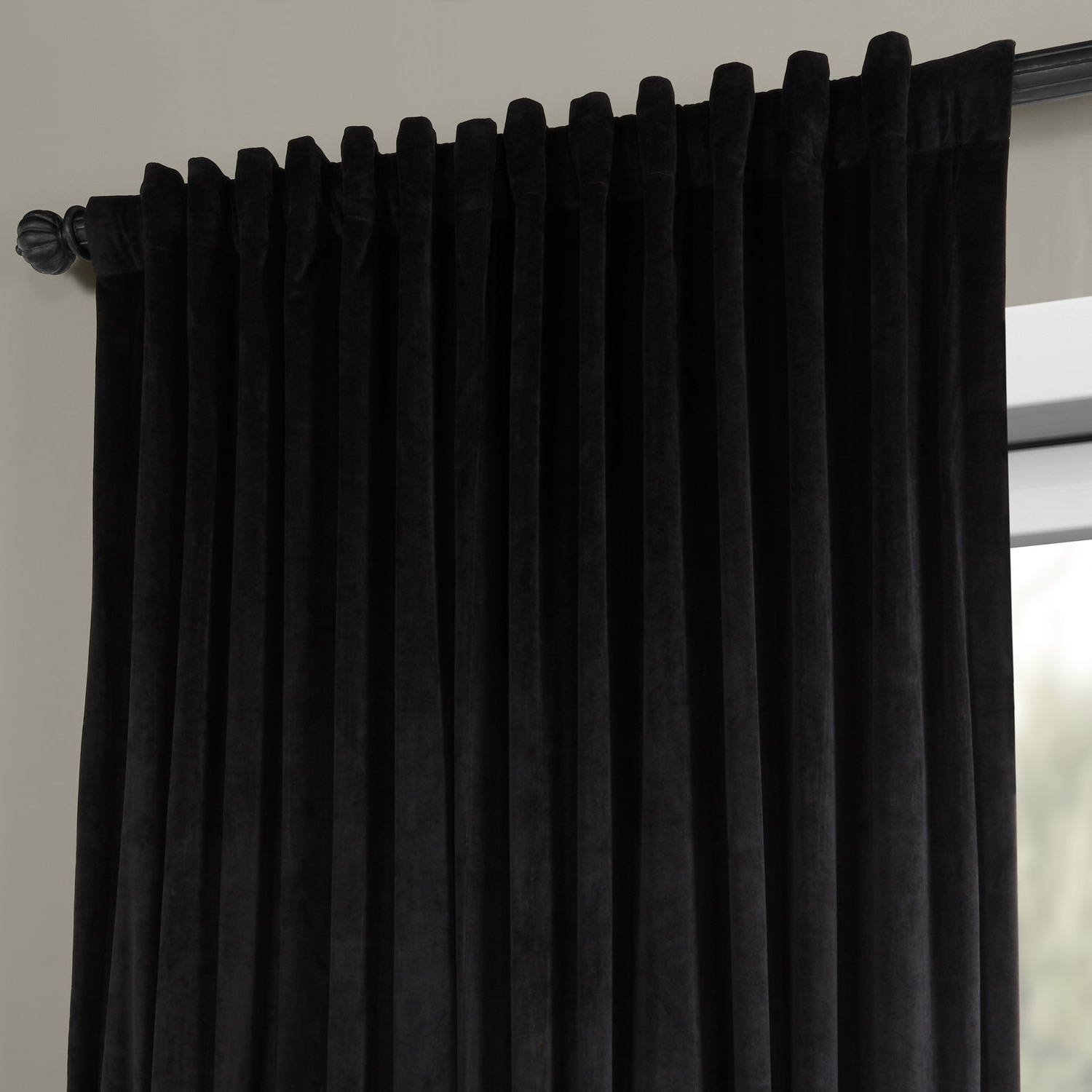 Most Recently Released Exclusive Fabrics Warm Black Velvet Blackout Extra Wide Single Curtain Panel Intended For Warm Black Velvet Single Blackout Curtain Panels (View 18 of 20)
