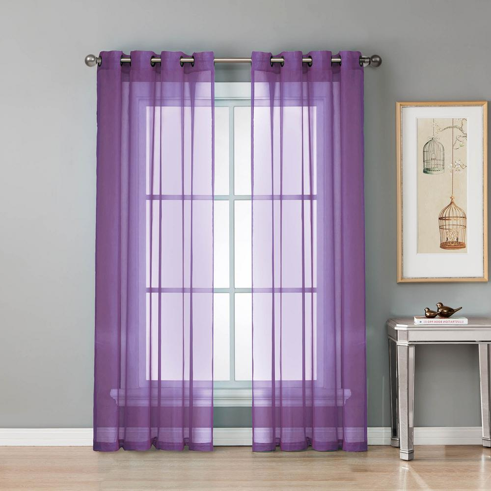 Most Recently Released Extra Wide White Voile Sheer Curtain Panels In Window Elements Sheer Diamond Sheer 56 In. W X 84 In. L Grommet Extra Wide Curtain Panel In Voile Purple (Gallery 17 of 20)