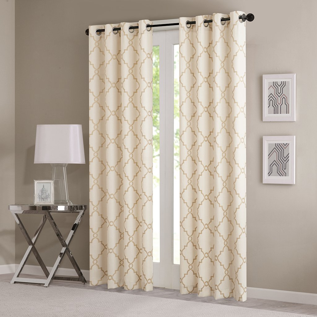 "Most Recently Released Fretwork Print Pattern Single Curtain Panels In Madison Park Sereno Fretwork Print Curtain Panel Beige/gold (50""x95"") (View 11 of 20)"