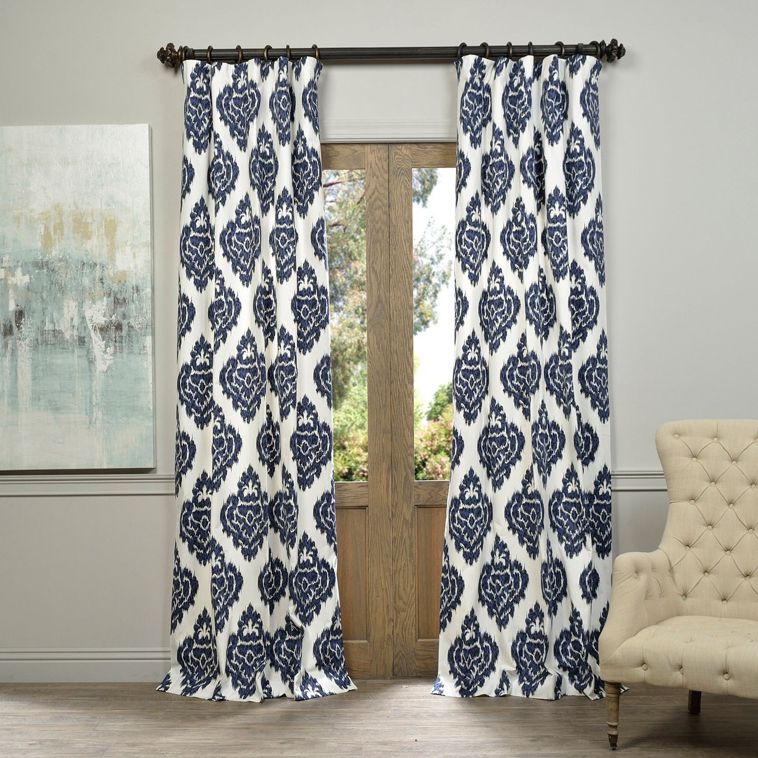 Most Recently Released Ikat Blue Printed Cotton Curtain Panels With Exclusive Fabrics Ikat Blue Printed Cotton Curtain Panel (Gallery 2 of 20)