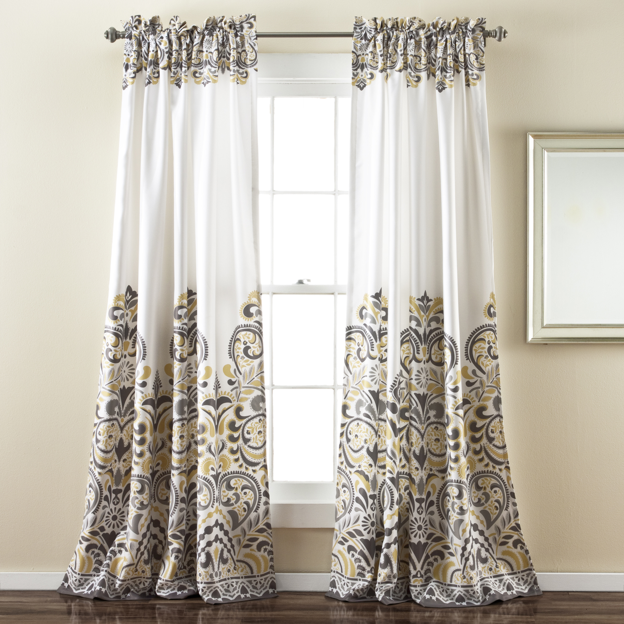 Most Recently Released Julia Striped Room Darkening Window Curtain Panel Pairs With Clara Room Darkening Window Panel Gray/ Yellow Set 52X84+2 (Gallery 18 of 20)