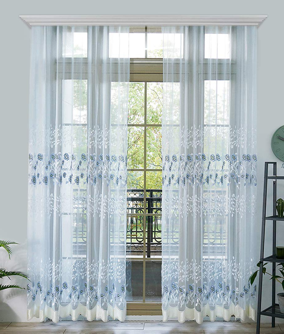Most Recently Released Kida Embroidered Sheer Curtain Panels With Amazon: Beautiful Modren Style Blue Flower Embroidered (Gallery 3 of 20)