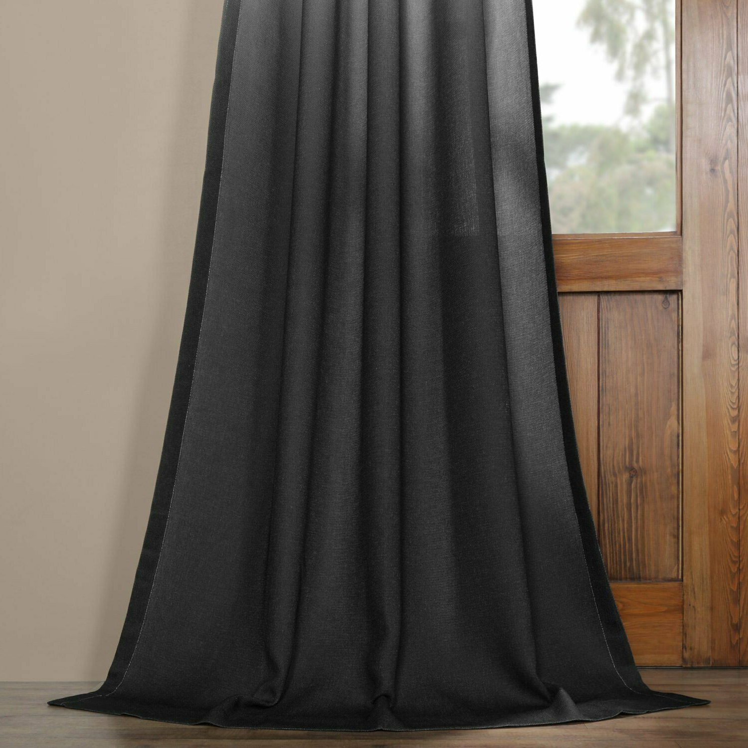 "Most Recently Released Ombre Faux Linen Semi Sheer Curtain Black 50 X 84 3"" Pole Pocket With Hook  Belt With Ombre Faux Linen Semi Sheer Curtains (Gallery 20 of 20)"