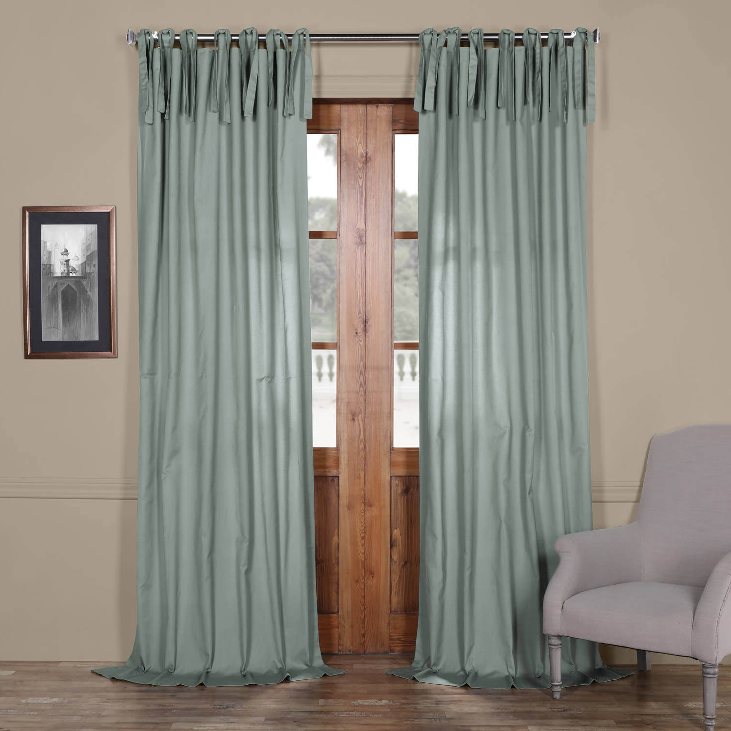 Most Recently Released Solid Cotton Pleated Curtains In Jasper Stone Solid Cotton Tie Top Curtain (View 13 of 20)