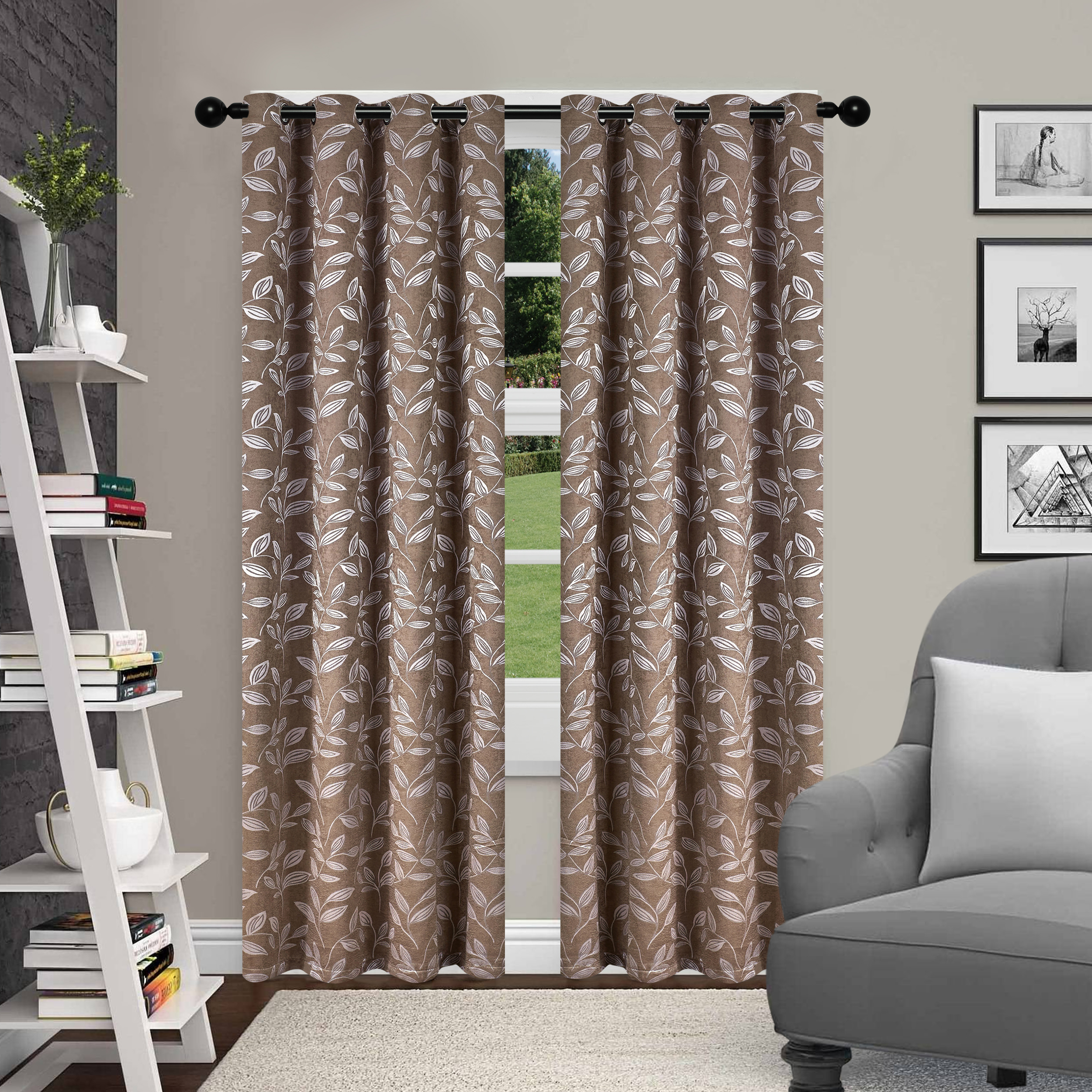 Most Recently Released Superior Leaves Insulated Thermal Blackout Grommet Curtain Panel Pairs Pertaining To Superior Leaves Textured Blackout Curtain Set Of 2 With (View 7 of 20)