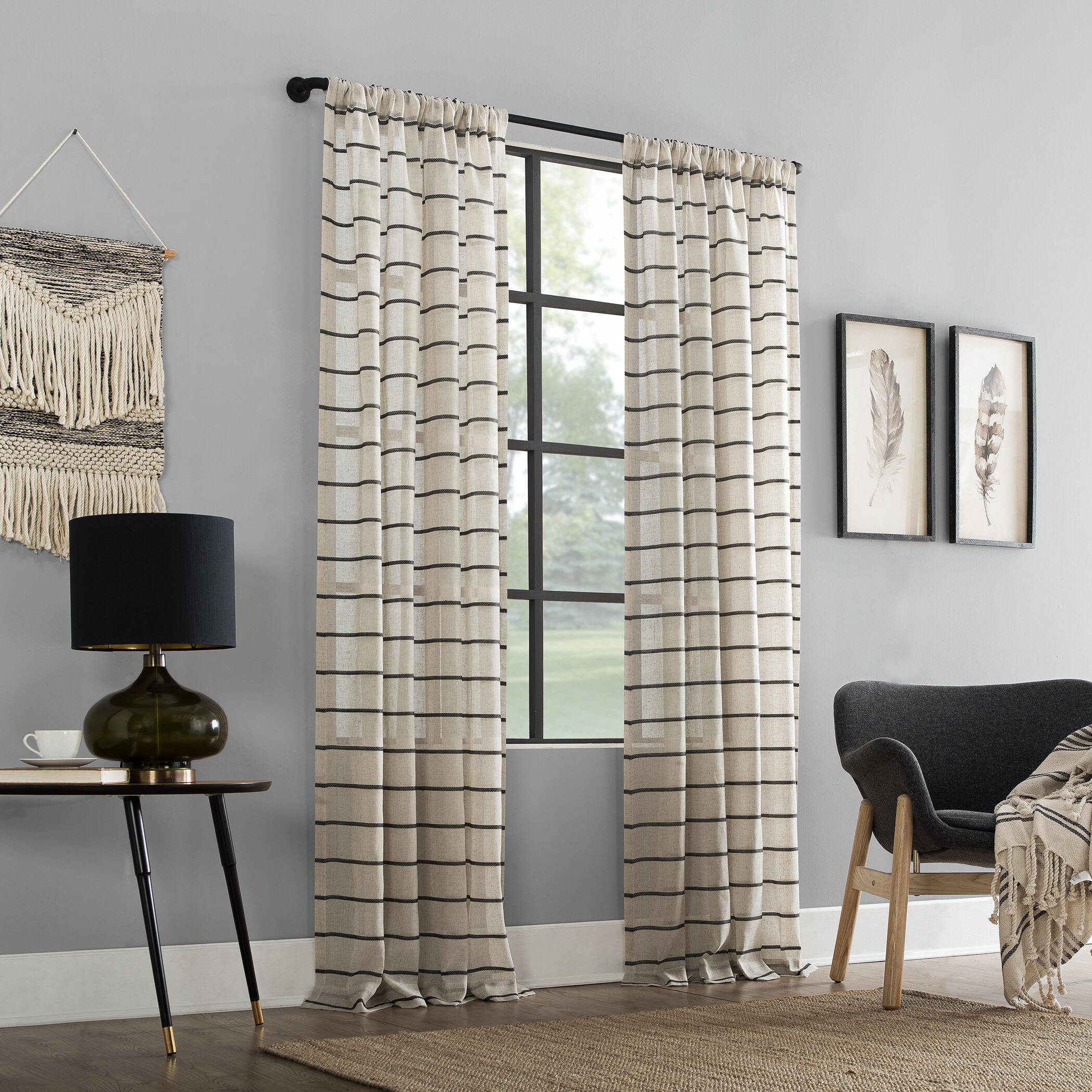 Most Recently Released Twill Anti Dust Striped Semi Sheer Rod Pocket Curtain Panel Regarding Ladonna Rod Pocket Solid Semi Sheer Window Curtain Panels (View 14 of 20)